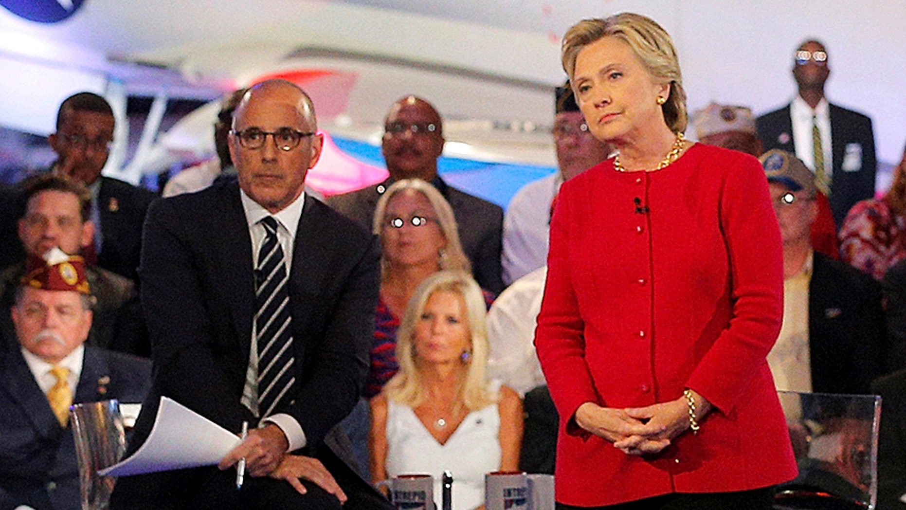 """U.S. Democratic presidential candidate Hillary Clinton speaks at a presidential candidates """"Commander-in-Chief"""" forum, moderated by Matt Lauer (L), aboard the decommissioned aircraft carrier """"Intrepid"""" in New York, New York, United States September 7, 2016."""