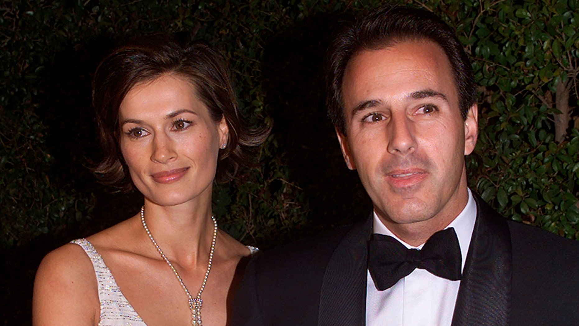 Matt Lauer arrives with his wife, Annette Roque, at an Academy Awards afterparty in Beverly Hills, Calif., in this undated photo.
