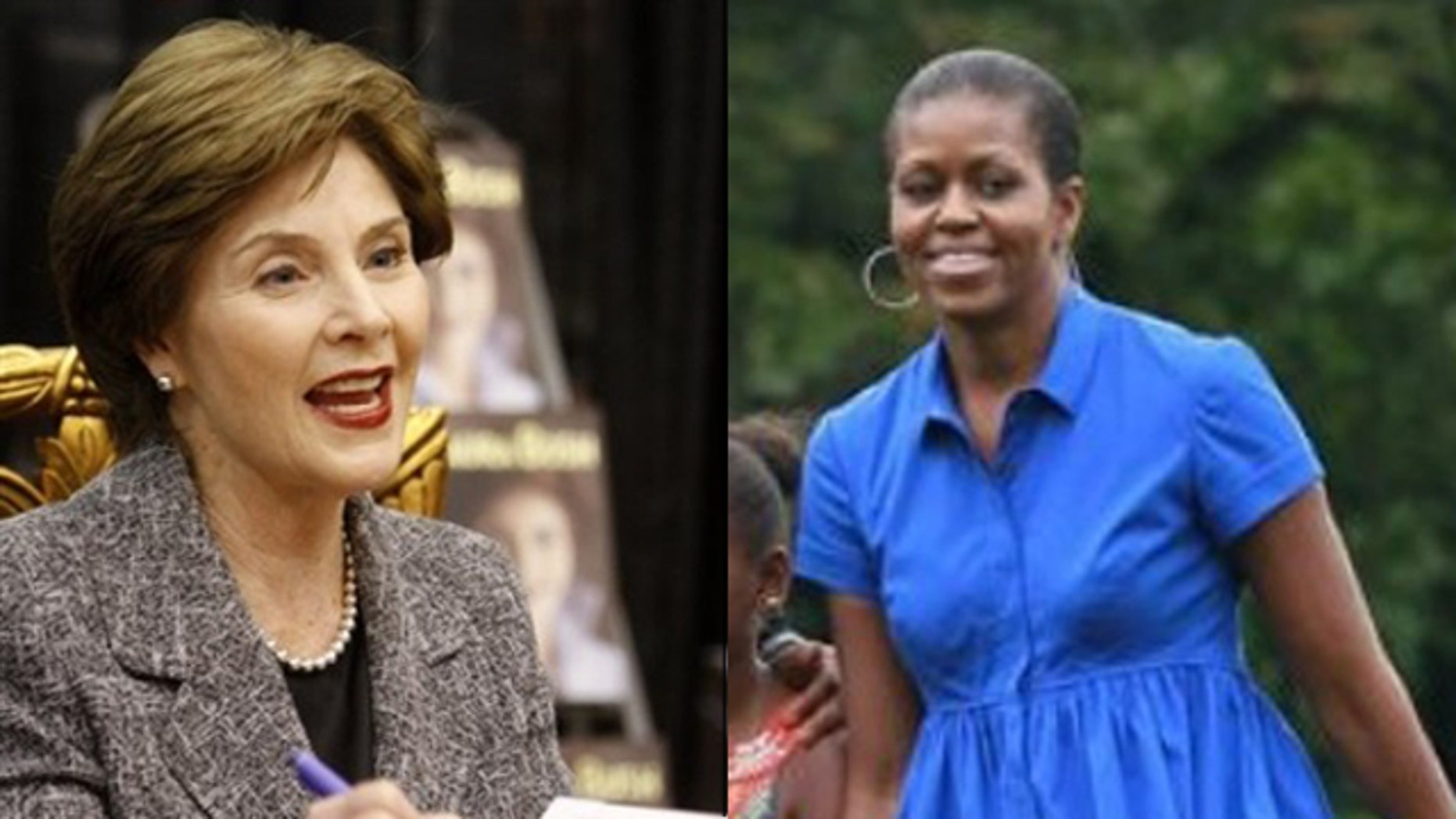 Shown here are former first lady Laura Bush, left, and first lady Michelle Obama. (AP Photos)
