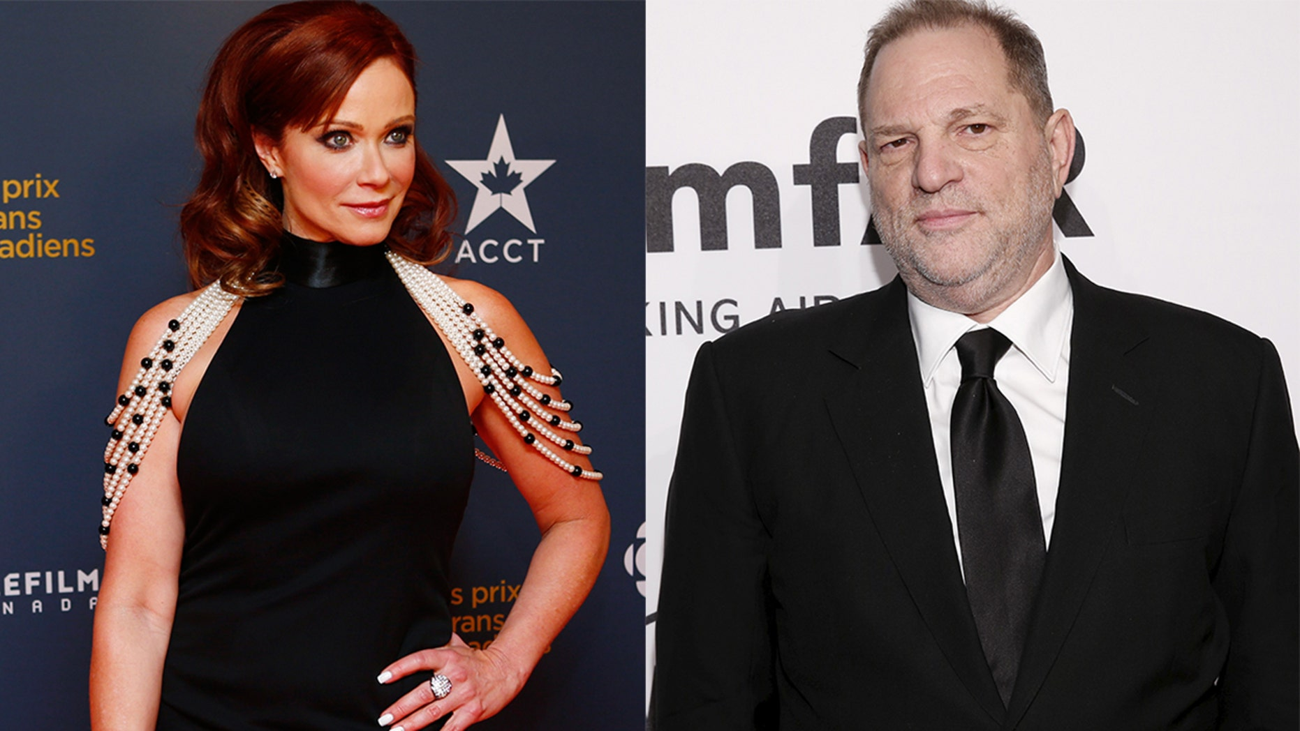 Lauren Holly, left, has accused Harvey Weinstein of stripping naked in front of her in a hotel room.