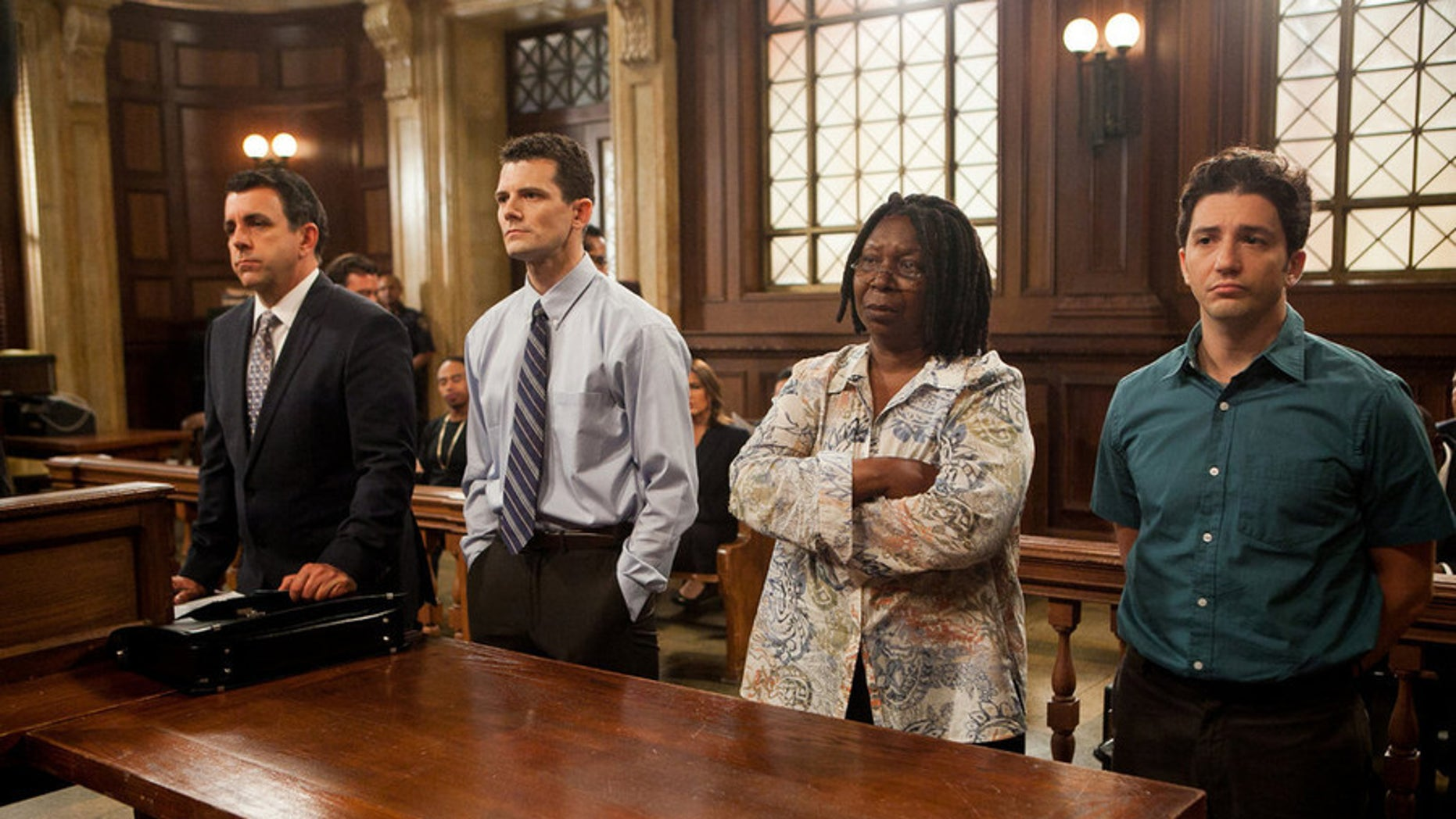 """LAW & ORDER: SPECIAL VICTIMS UNIT -- """"Institutional Fail"""" Episode 17004 -- Pictured: (l-r) Joseph Lyle Taylor as Counselor D'Angelo, Josh Marcantel as Dale Sheridan, Whoopi Goldberg as Janette Garner, John Magaro as Keith Adkins -- (Photo by: Tom Zubak/NBC)"""