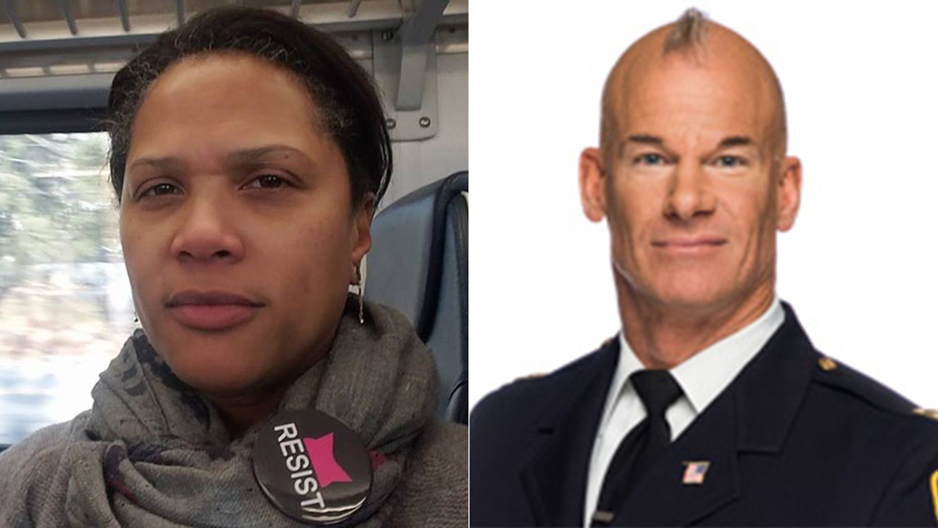 Stephanie Lawson-Muhammad says she has apologized to South Orange Police Chief Kyle Kroll, right, who she was heard calling a 'skinhead' in a video that emerged after she was pulled over for speeding on April 27.