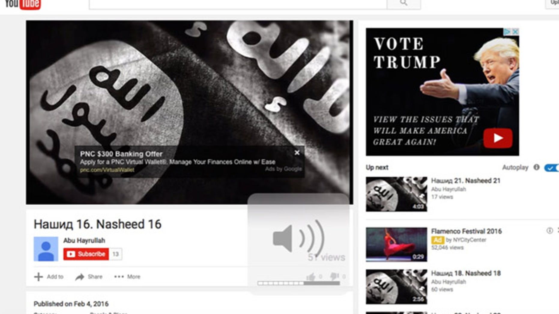This political ad for Donald Trump appeared for months on an ISIS-linked YouTube page, according to one software expert. (Screengrab)