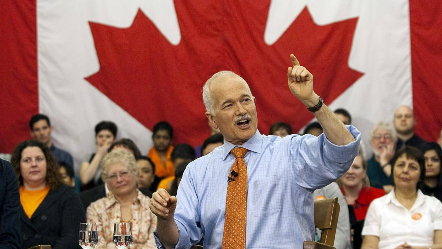 In this April 26, 2011 photo, New Democratic Party Leader Jack Layton fields a question at a town hall. (AP Photo/The Canadian Press, Andrew Vaughan, File)