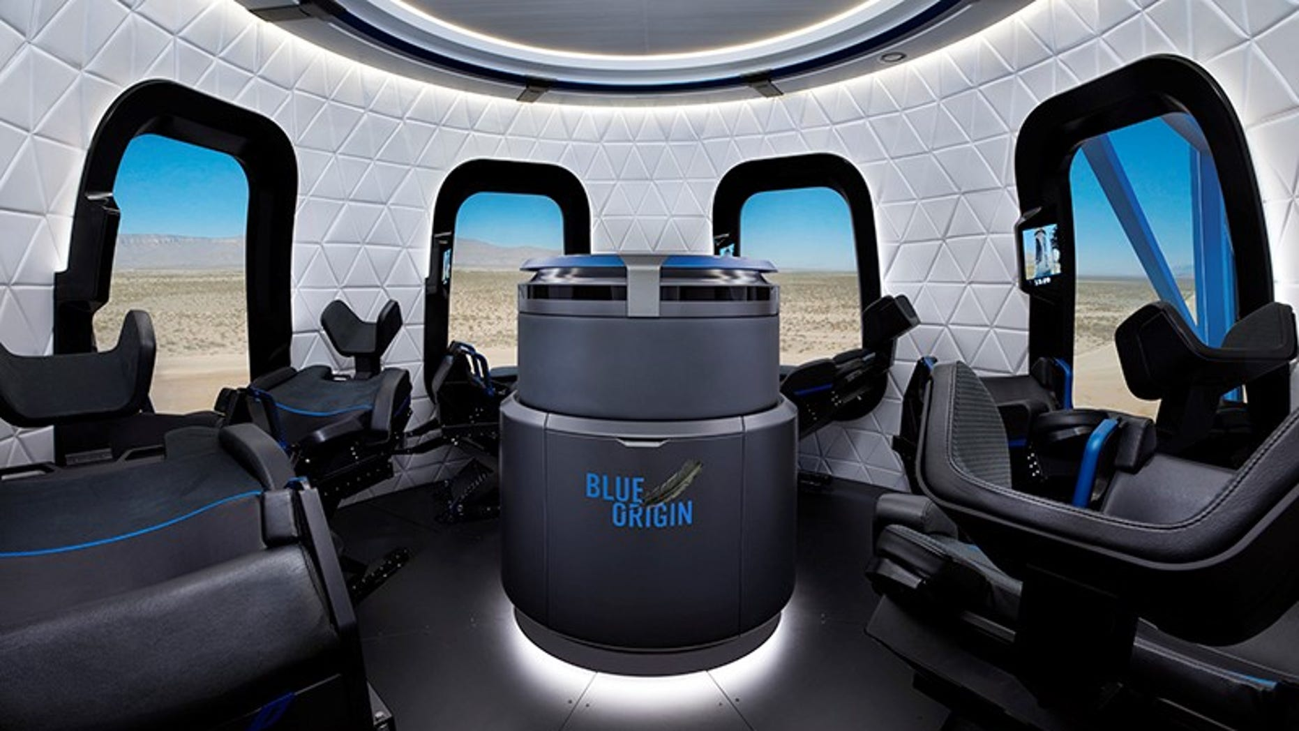 A visualization of the interior of Blue Origin's New Shepard vehicle, which the company plans to use to ferry tourists on short trips to space.