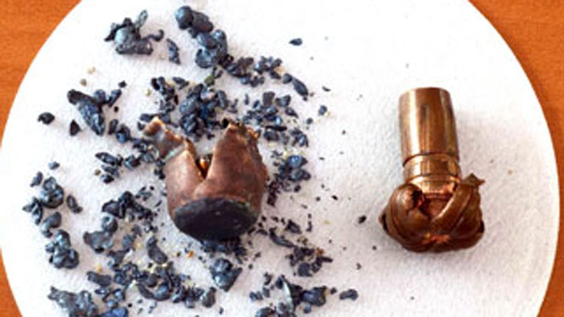 File: Two .270 caliber bullets discharged and retrieved. The non-lead bullet is on the right. The lead bullet is on the left.