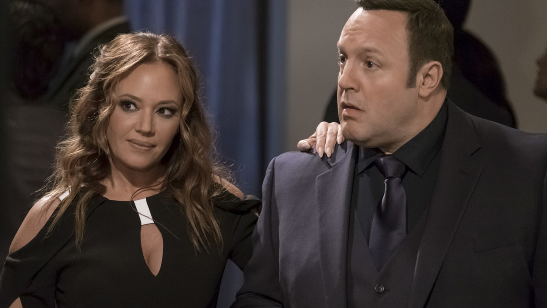 """Leah Remini (left) as Vanessa Cellucci and Kevin James as Kevin Gable in """"Kevin Can Wait."""""""