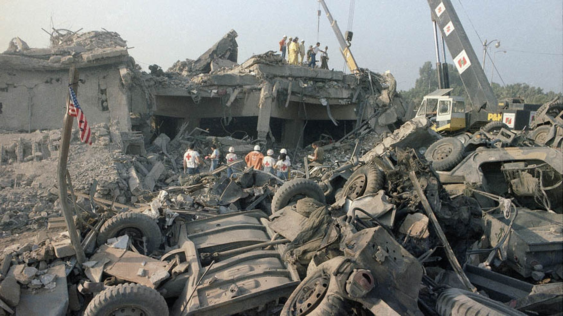 In this Oct. 23, 1983 file photo, the aftermath of the bombing of the U.S. Marines barracks in Beirut, Lebanon.