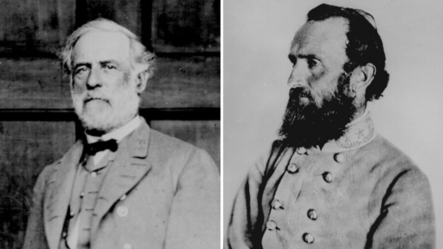 "Portraits of Confederate generals Robert E. Lee and Thomas ""Stonewall"" Jackson."