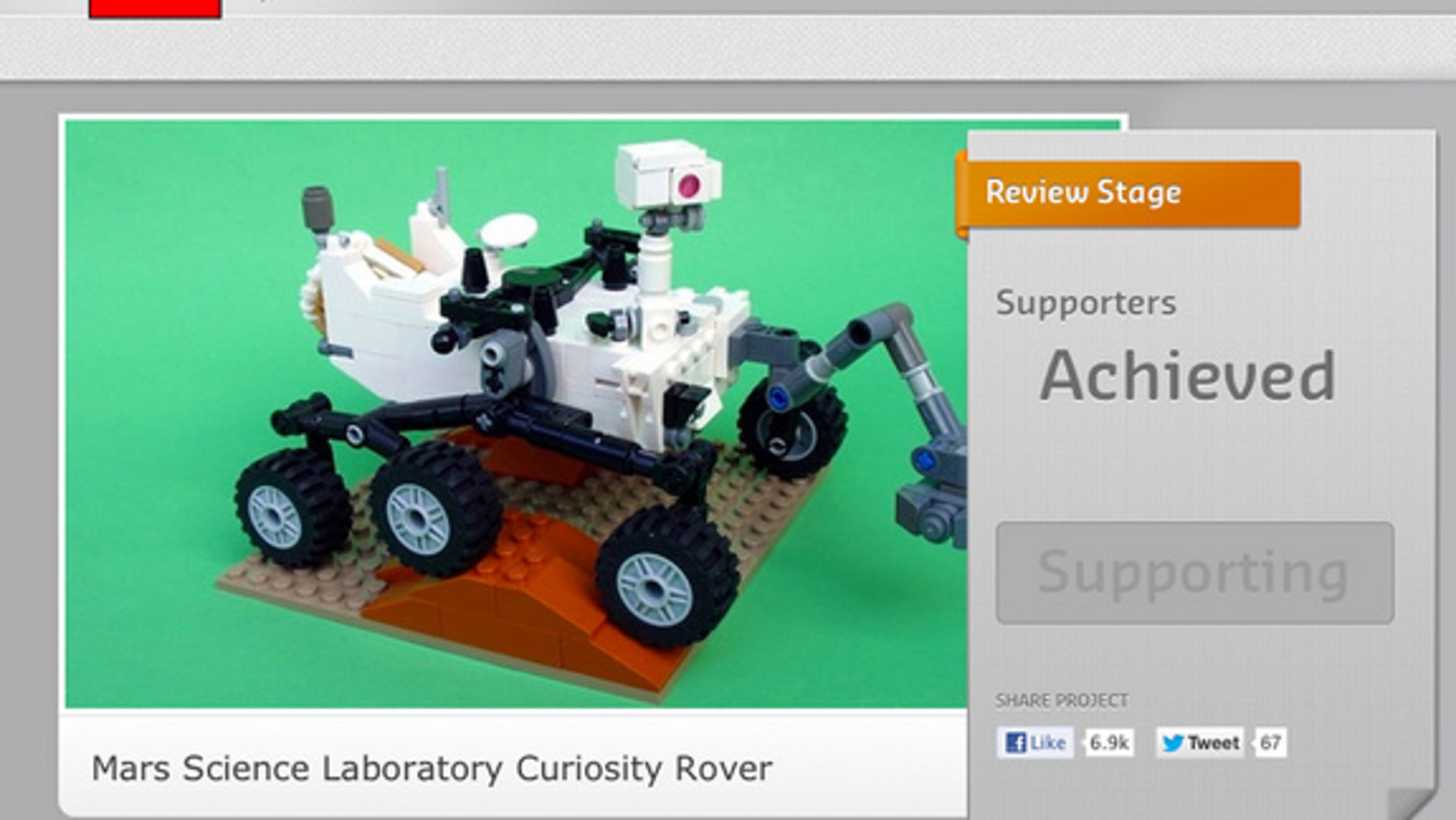 """The LEGO CUUSOO web page for Stephen Pakbaz's Mars rover Curiosity model reflects it has """"Achieved"""" 10,000 votes."""