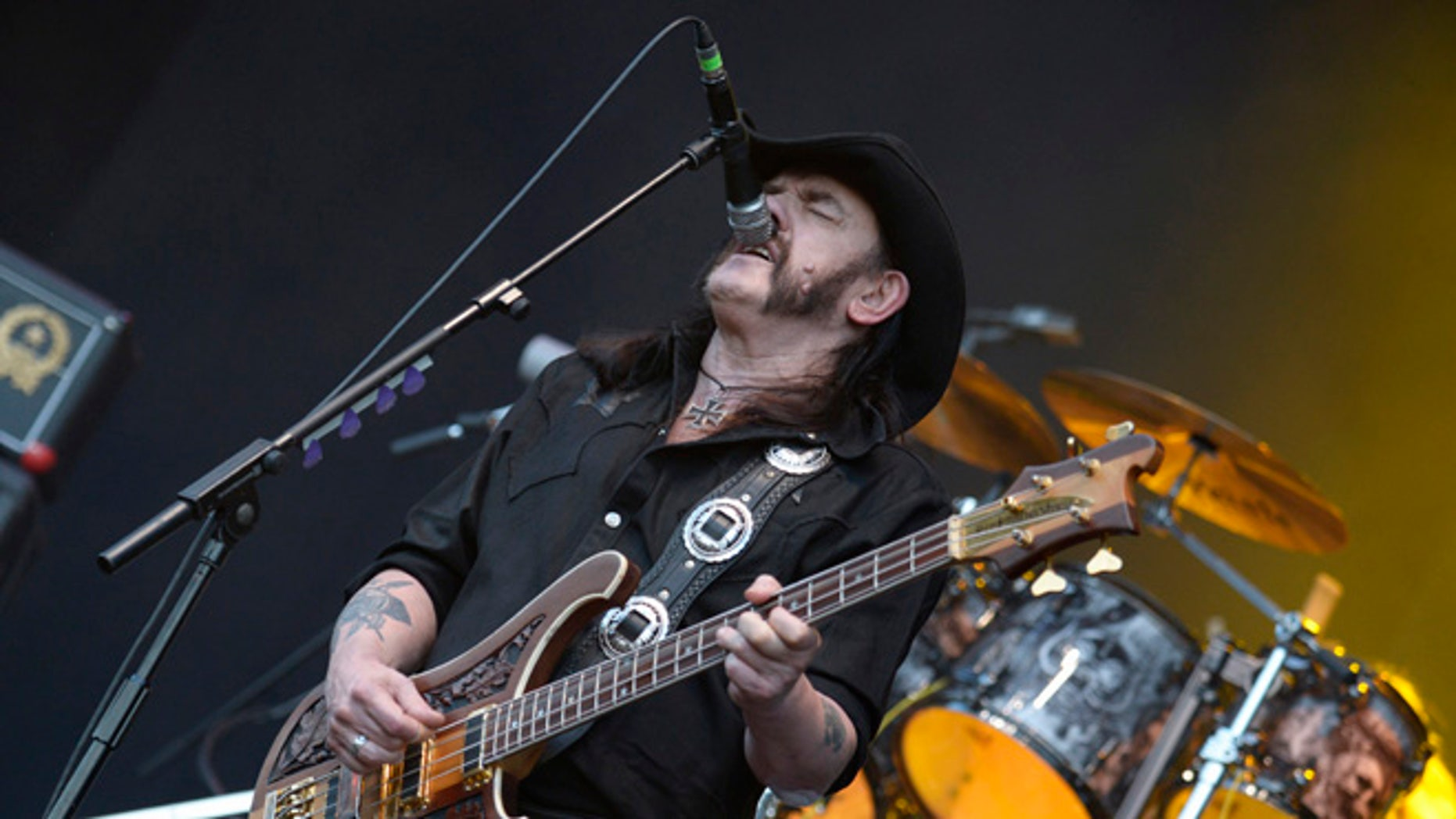 "File photo - August 2, 2013: Ian Fraser ""Lemmy"" Kilmister, lead singer of British rock band Motorhead, performs during the 24th Wacken Open Air Festival in Wacken."
