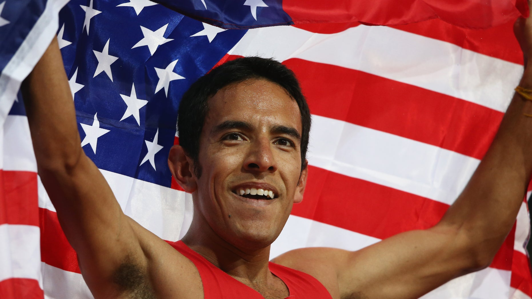 Leonel Manzano celebrates after winning silver in the Men's 1500m Final on Day 11 of the London 2012 Olympic Games at Olympic Stadium.