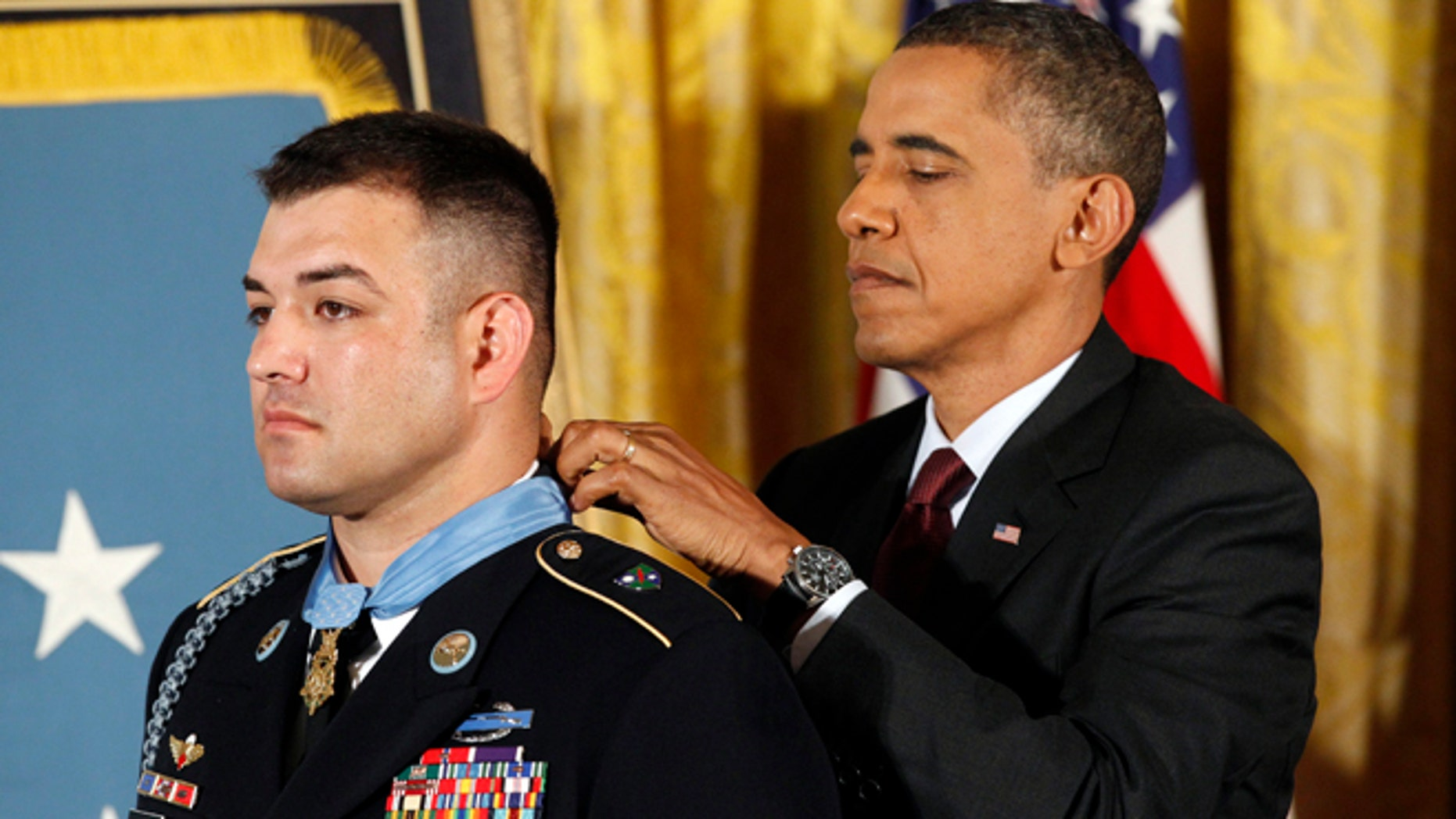 July 12, 2011: President Barack Obama awards Sgt. First Class Leroy Arthur Petry, U.S. Army, the Medal of Honor at the White House.
