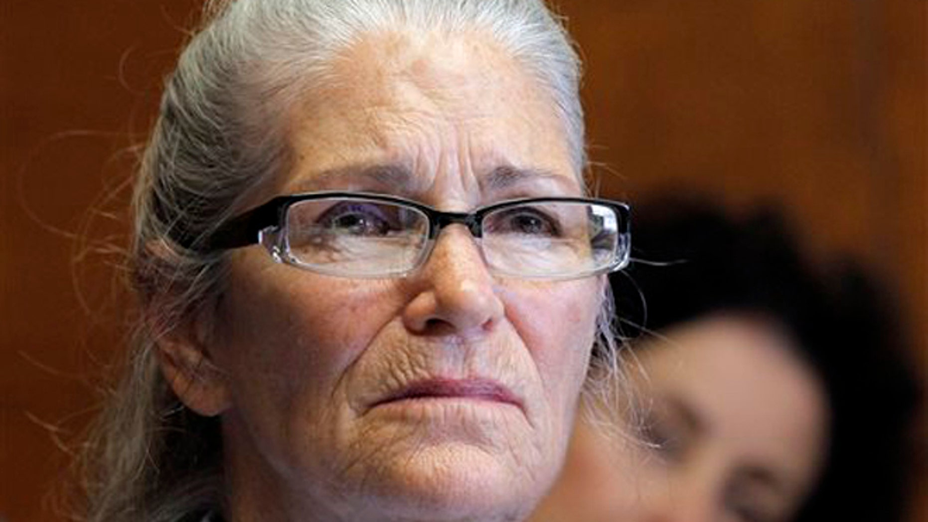 In this June 5, 2013, file photo, Leslie Van Houten appears during her parole hearing at the California Institution for Women in Chino, Calif.