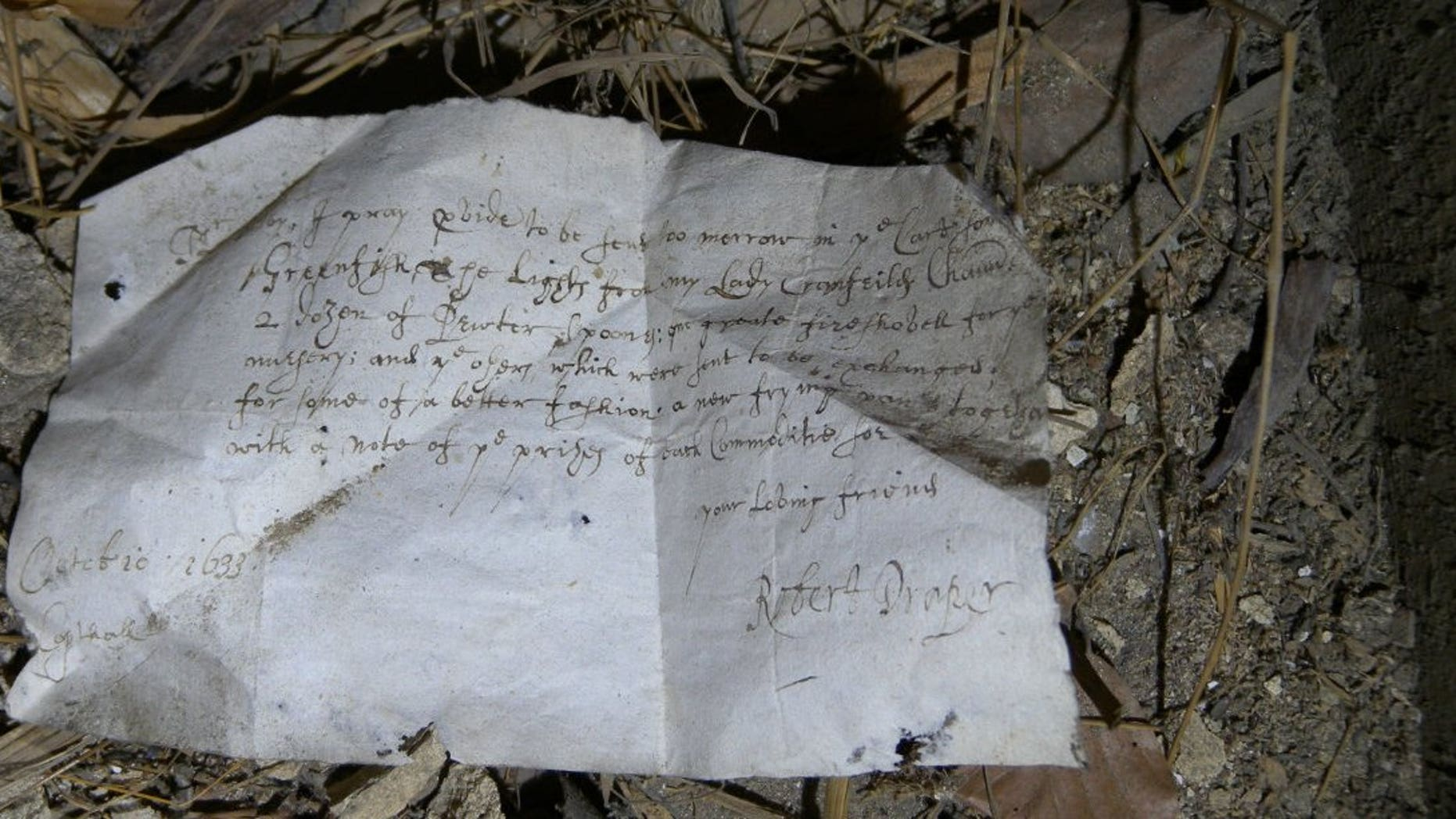 1633 letter in the South Barracks, Knole House (National Trust).