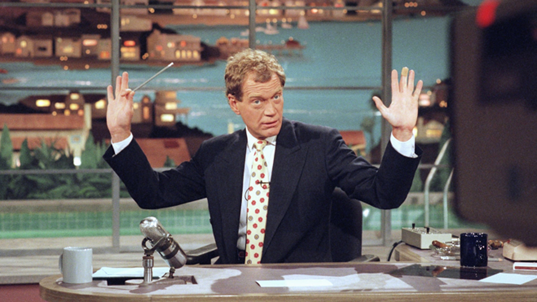 "May 9, 1994: David Letterman gesturing during a week-long taping of the ""Late Show with David Letterman"" in Los Angeles."
