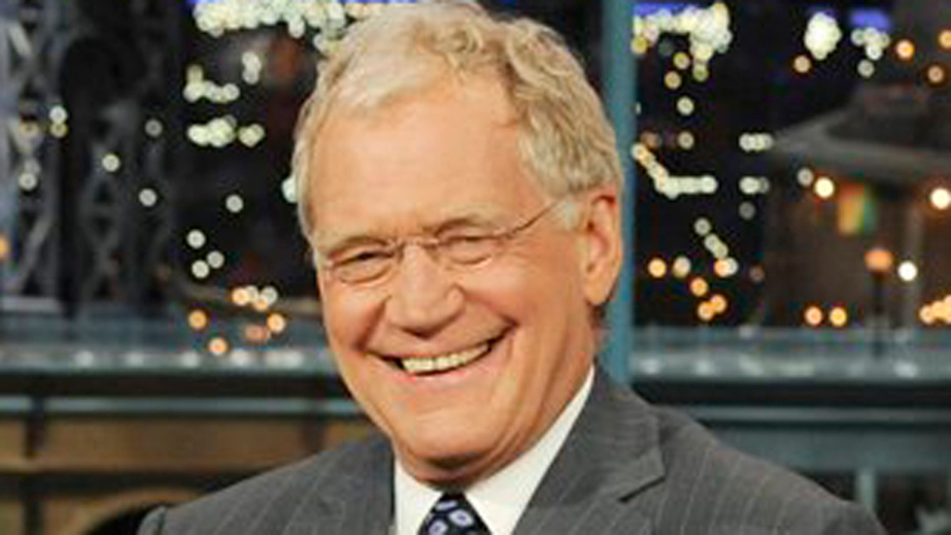 """In this April 21, 2010 file photo released by CBS, host David Letterman is shown on the set of the """"Late Show with David Letterman,"""" in New York."""