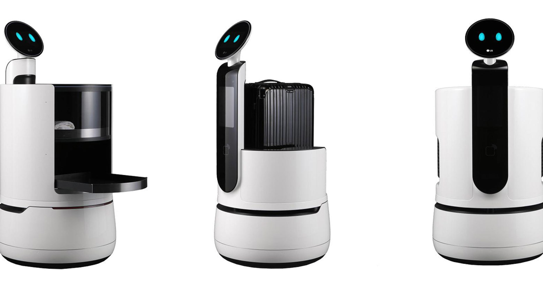The three new concept robots from LG Electronics are aimed at the services industry, in areas like hotels, airports and supermarkets.
