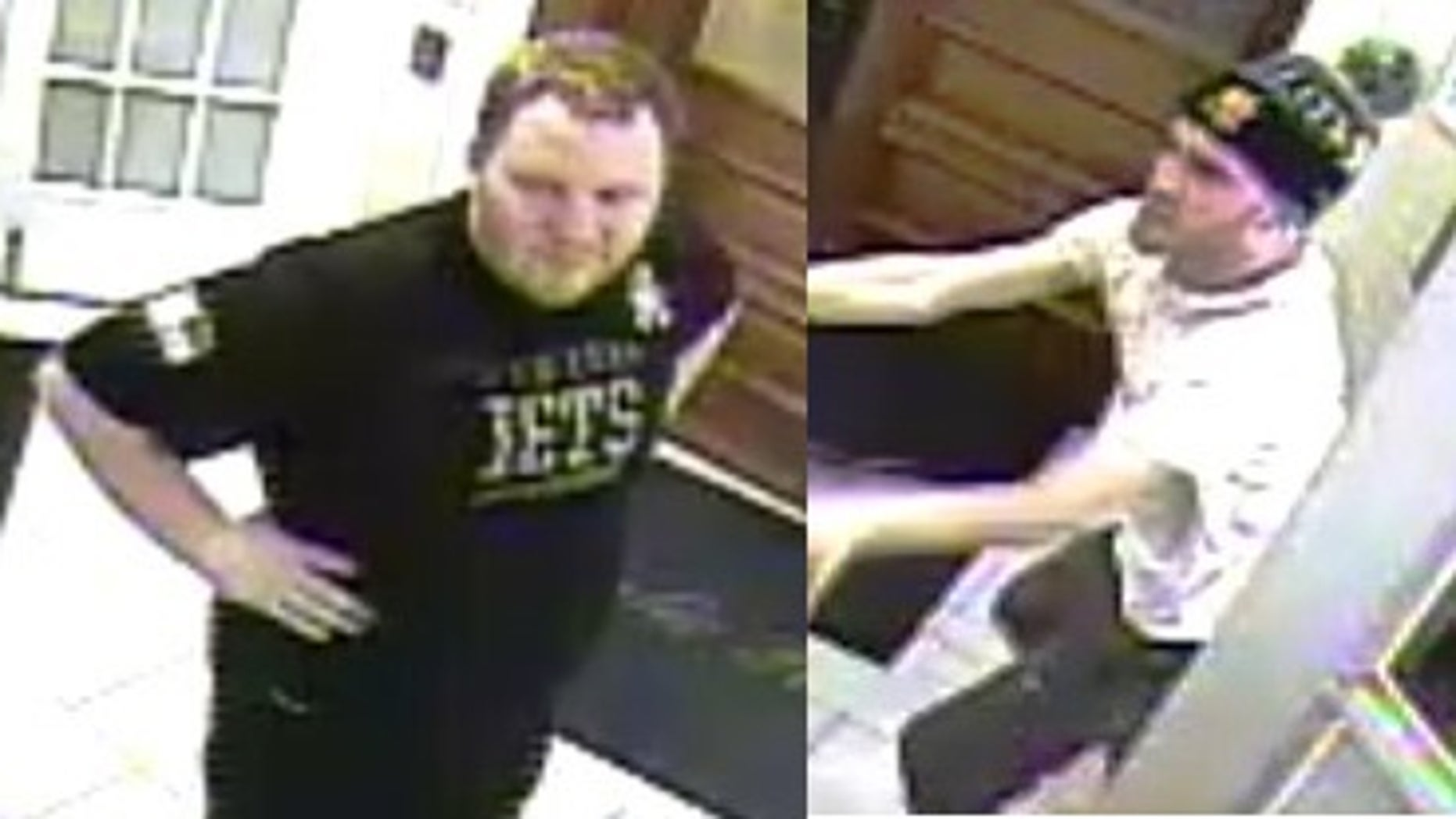 Police released images of two suspects in an attack inside a Long Island gated community.
