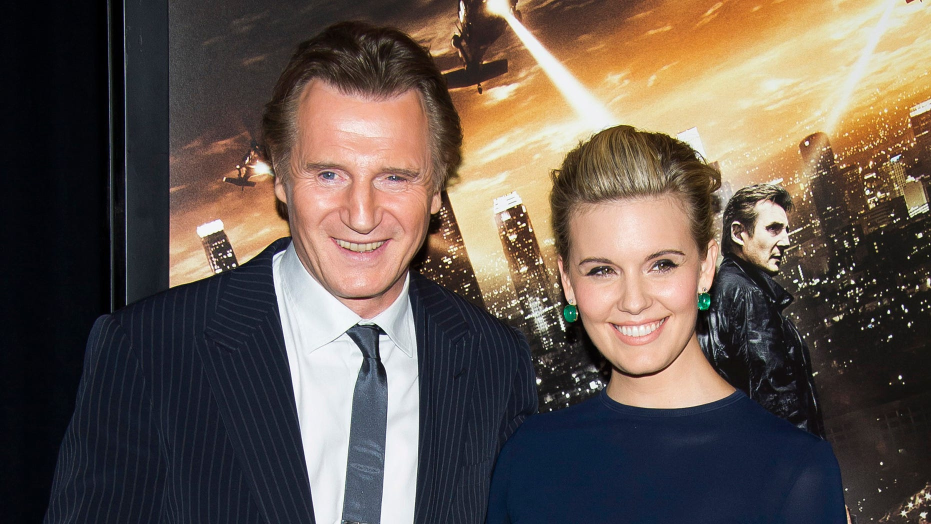 """Jan 7, 2015. Liam Neeson, left, and Maggie Grace attend a """"Taken 3"""" screening in New York."""