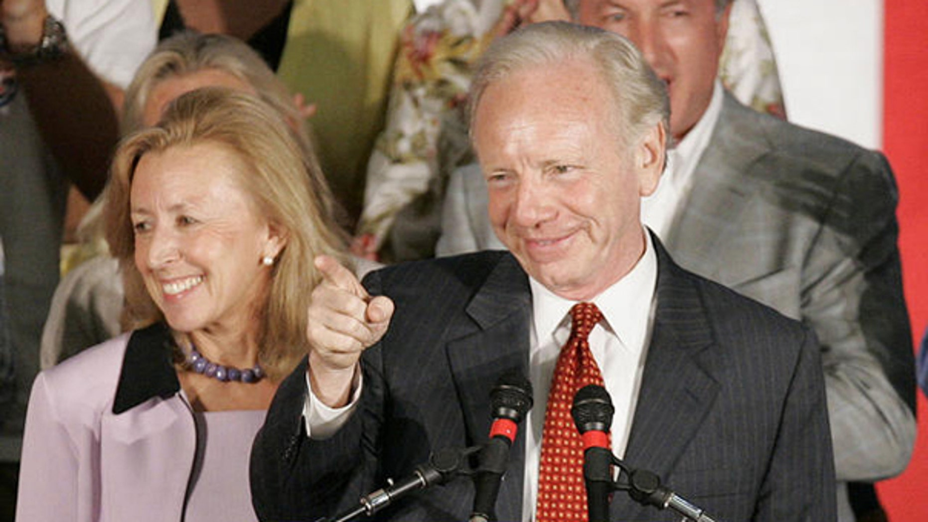Sen. Joe Lieberman and wife Hadassah are shown here in Hartford, Conn., at a campaign event in August 2006. (AP Photo)