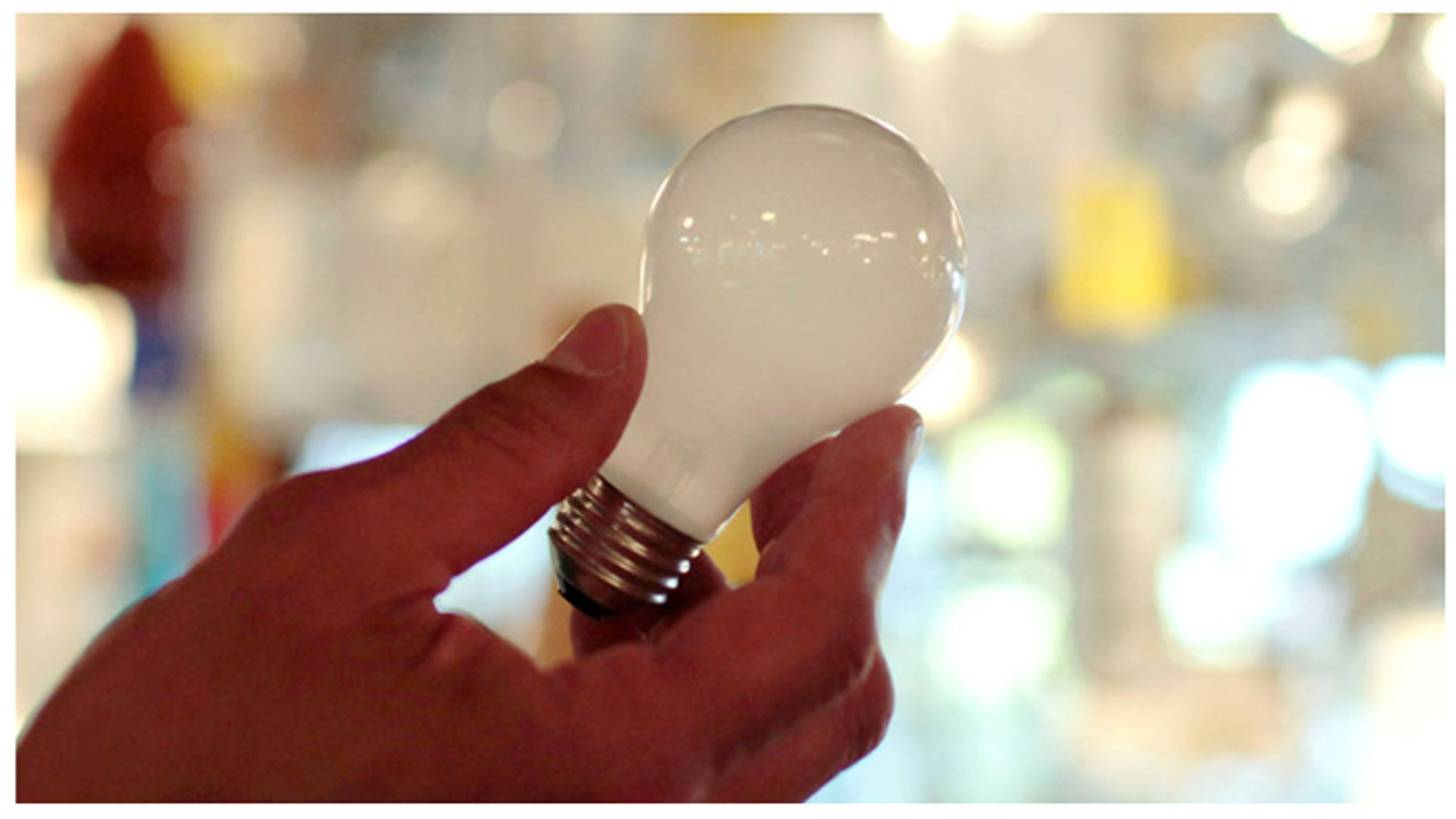 A 100-watt incandescent light bulb seen at Royal Lighting in Los Angeles on Jan. 21, 2011 -- before the bulbs were banned by a 2007 law.