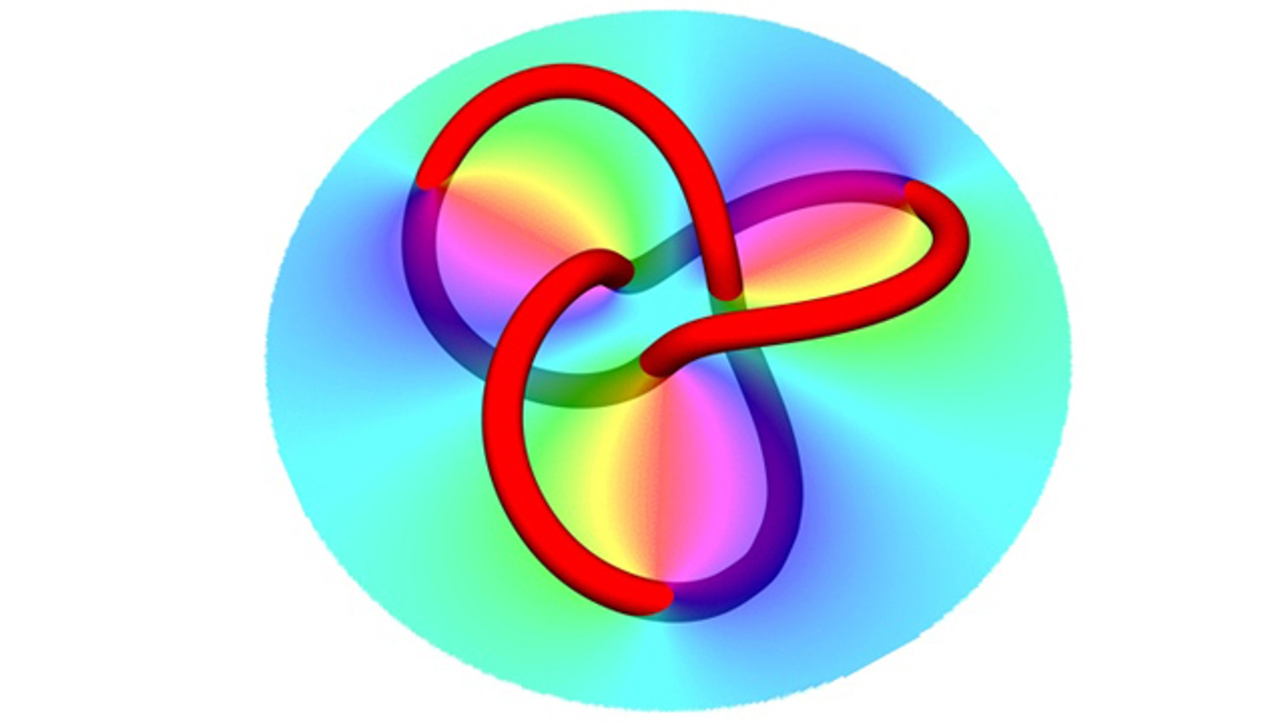 By reflecting a laser beam from a specially designed hologram (shown here as the colored circle), physicists created knots of dark filaments (represented by the colored knot).