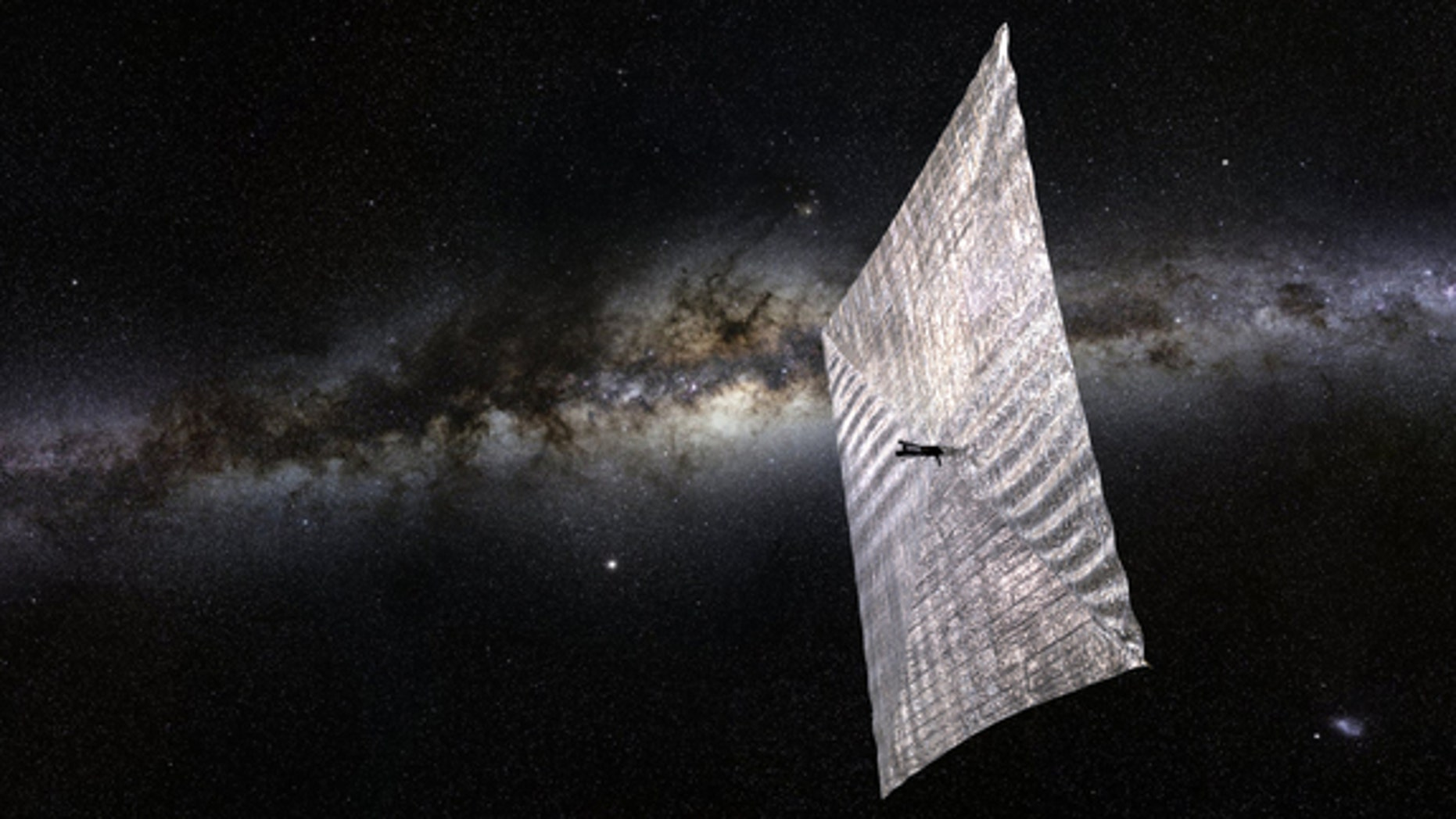 Artist's concept of The Planetary Society's LightSail cubesat in space.