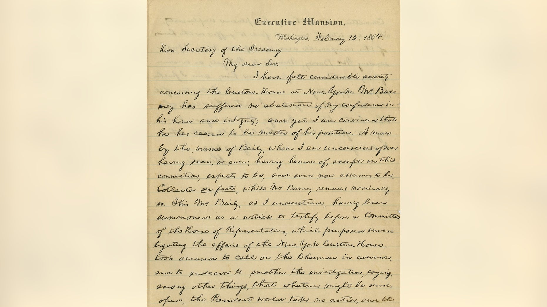 A handwritten letter from Abraham Lincoln.