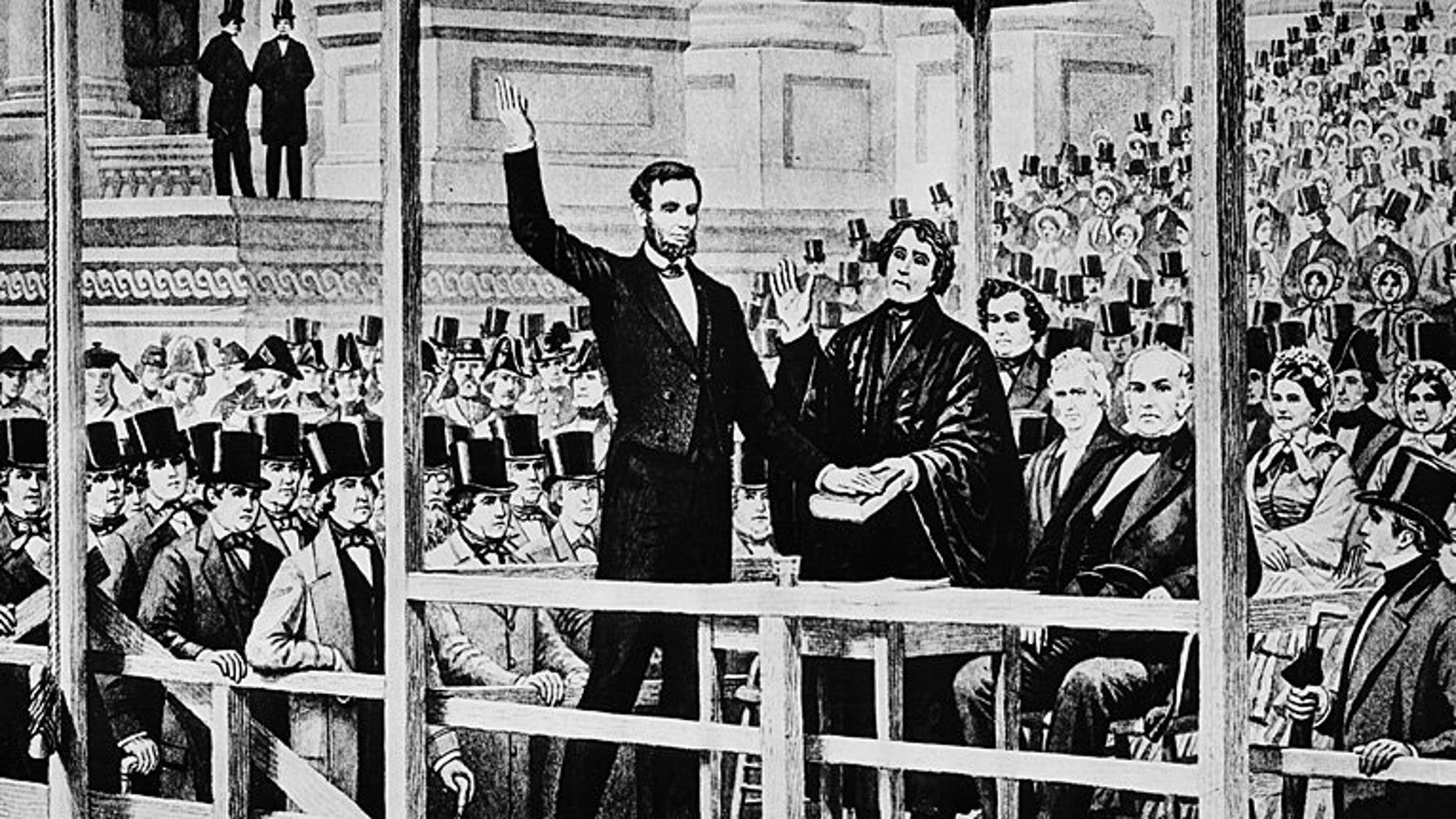 This drawing shows Abraham Lincoln taking the oath of office as the 16th president of the United States in front of the U.S. Capitol in Washington on March 4, 1861. AP PHOTO