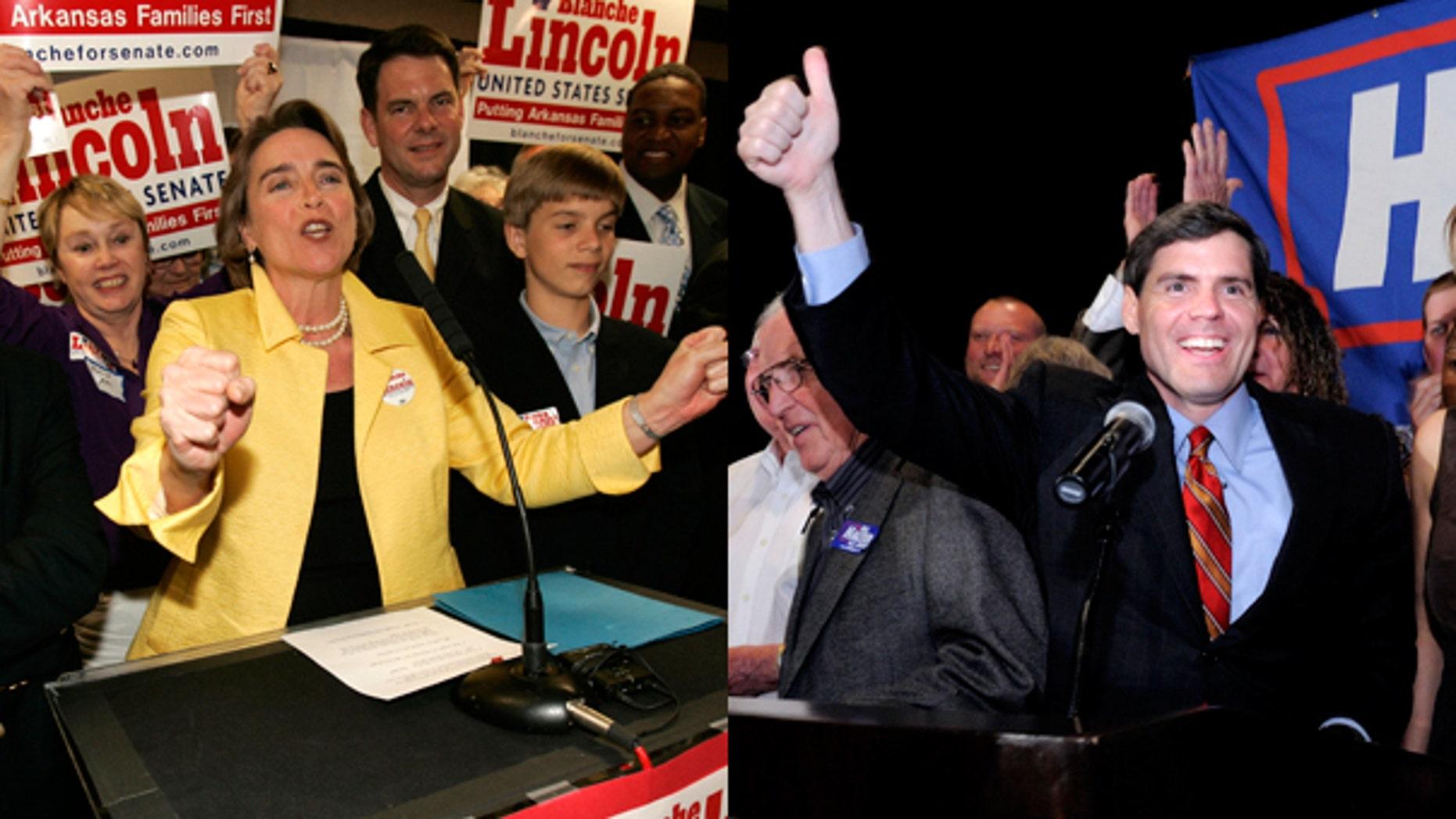 Sen. Blanche Lincoln, D-Ark., and Arkansas Lt. Governor Bill Halter. (AP)