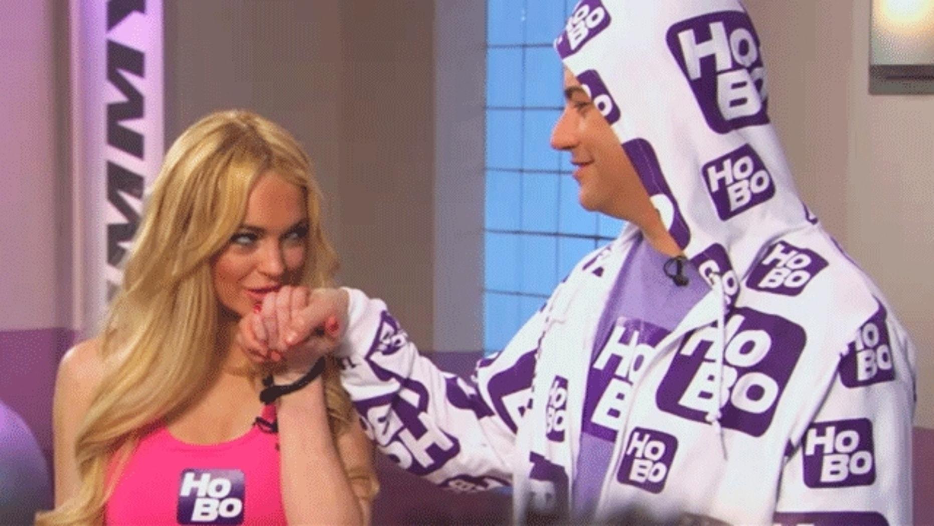 Lindsay Lohan on Jimmy Kimmel's Humpilates skit. (YouTube/ABC)