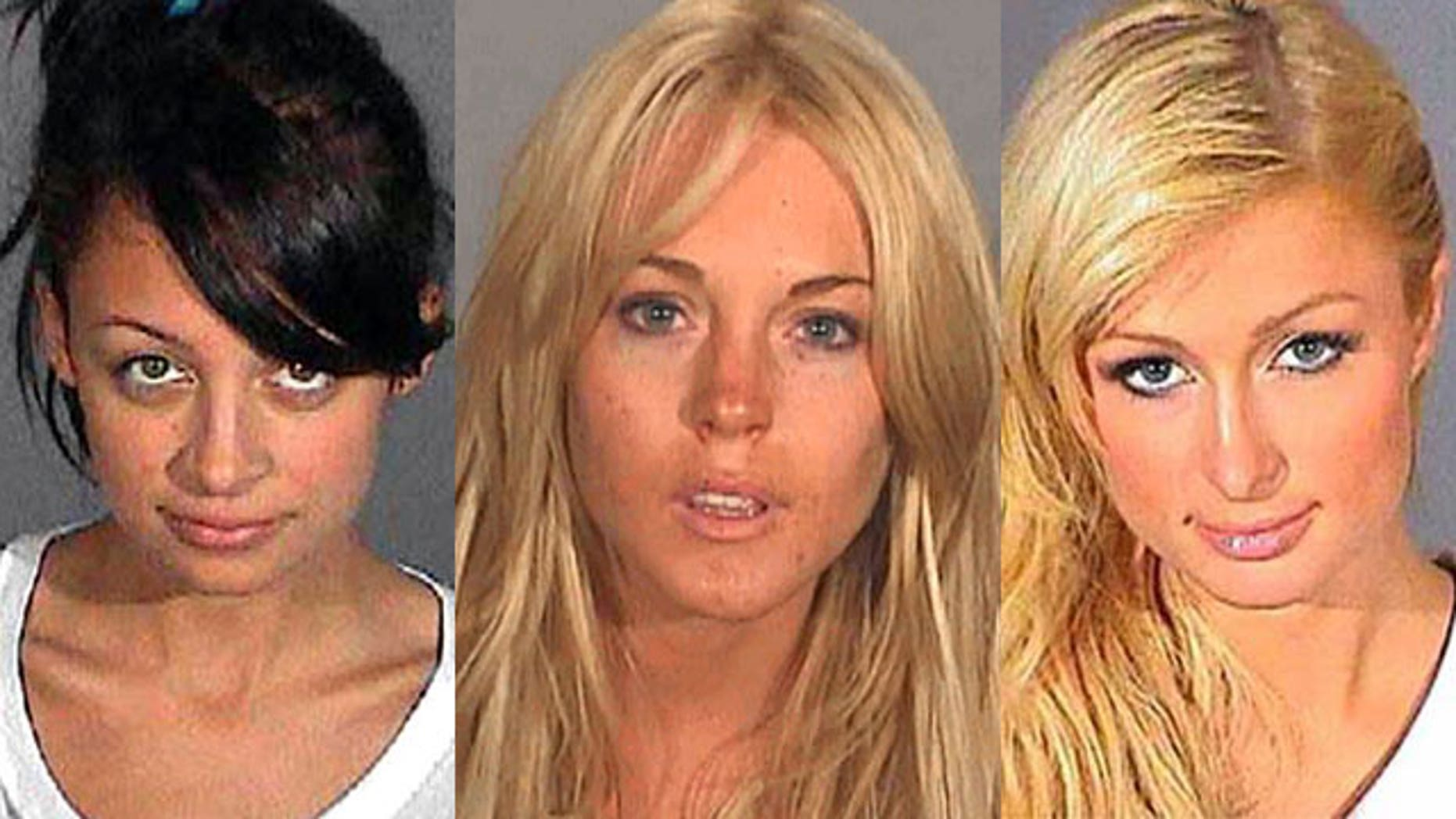 The mug shots of Nicole Richie, Lindsay Lohan, and Paris Hilton.