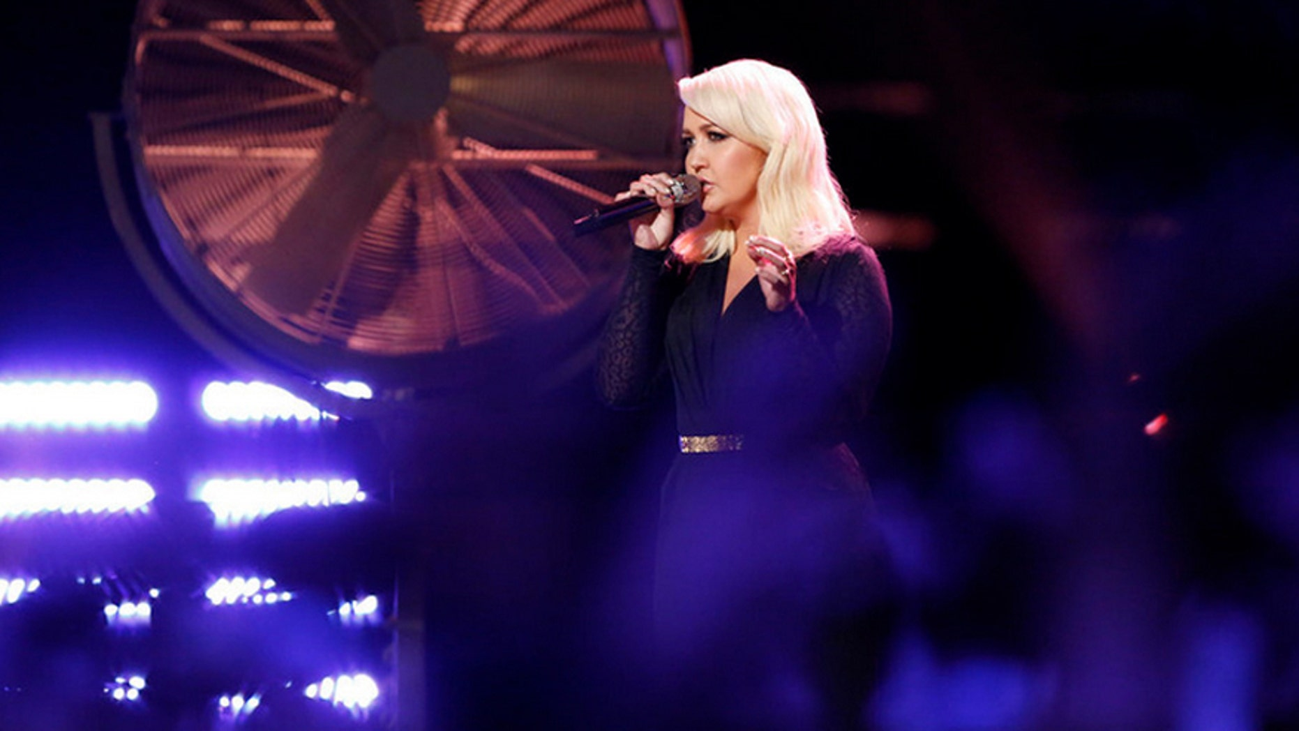 """Meghan Linsey performing """"Girl Crush"""" on NBC's """"The Voice"""" April 13."""