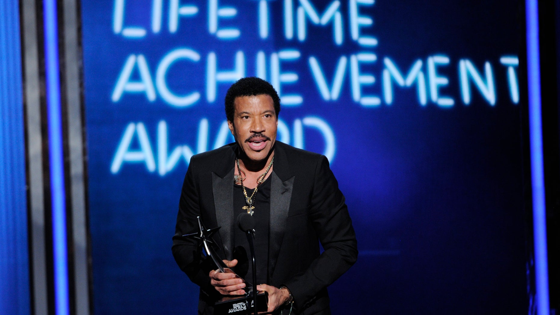 June 29, 2014. Lionel Richie accepts the lifetime achievement award at the BET Awards at the Nokia Theatre.