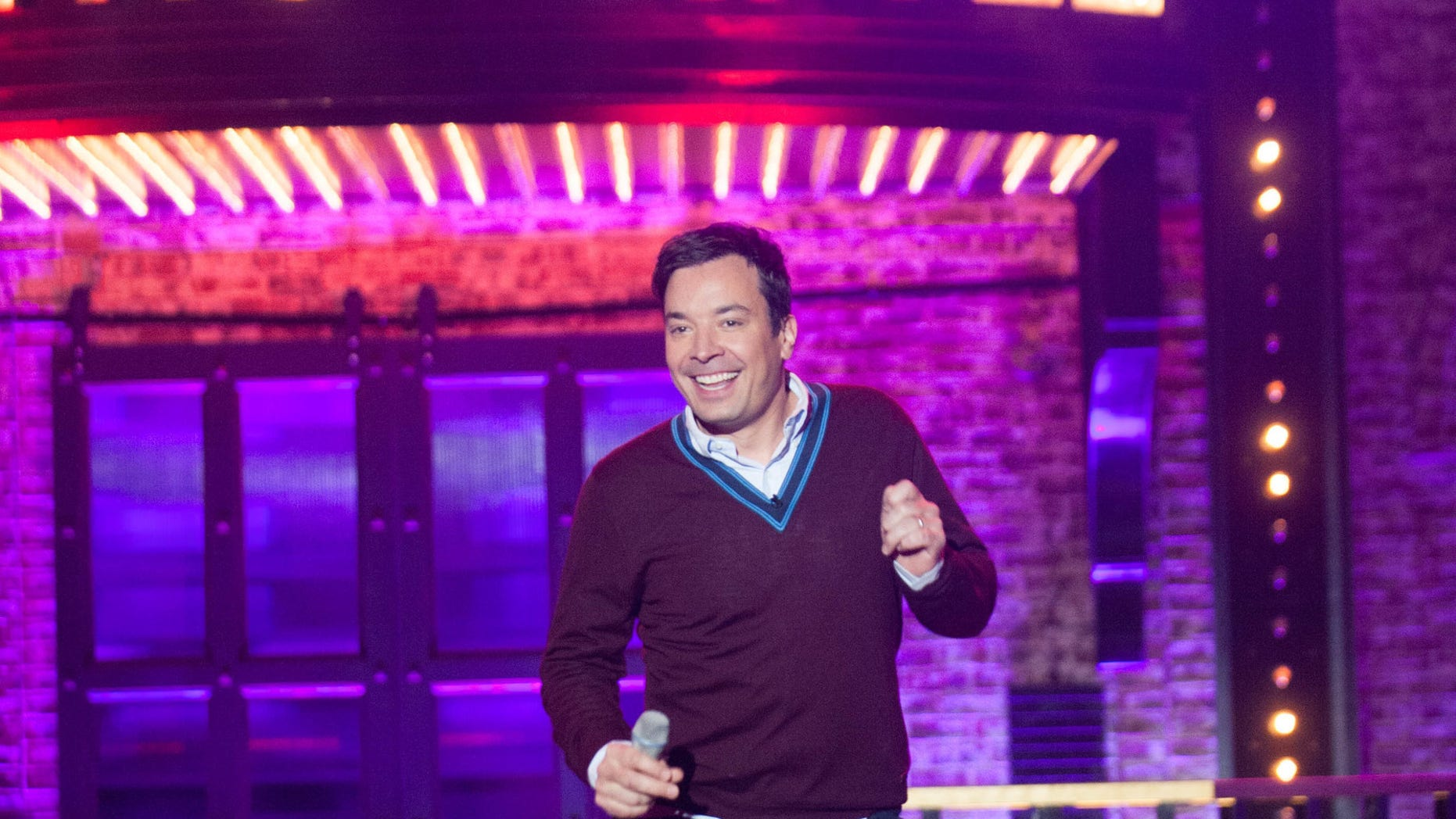 """In this image released by Spike TV, Jimmy Fallon  appears on the celebrity competition series, """"Lip Sync Battle."""" When Jimmy Fallon sought to turn the popular lip sync competition feature from the """"Tonight"""" show into a television series, NBC turned down one of its biggest stars _ a decision that at least initially seems like an embarrassing mistake. Fallon and his production partners instead brought """"Lip Sync Battle"""" to corporate competitors at the Viacom-owned Spike TV, where it instantly became a hit. (Scott Gries/Spike TV via AP)"""