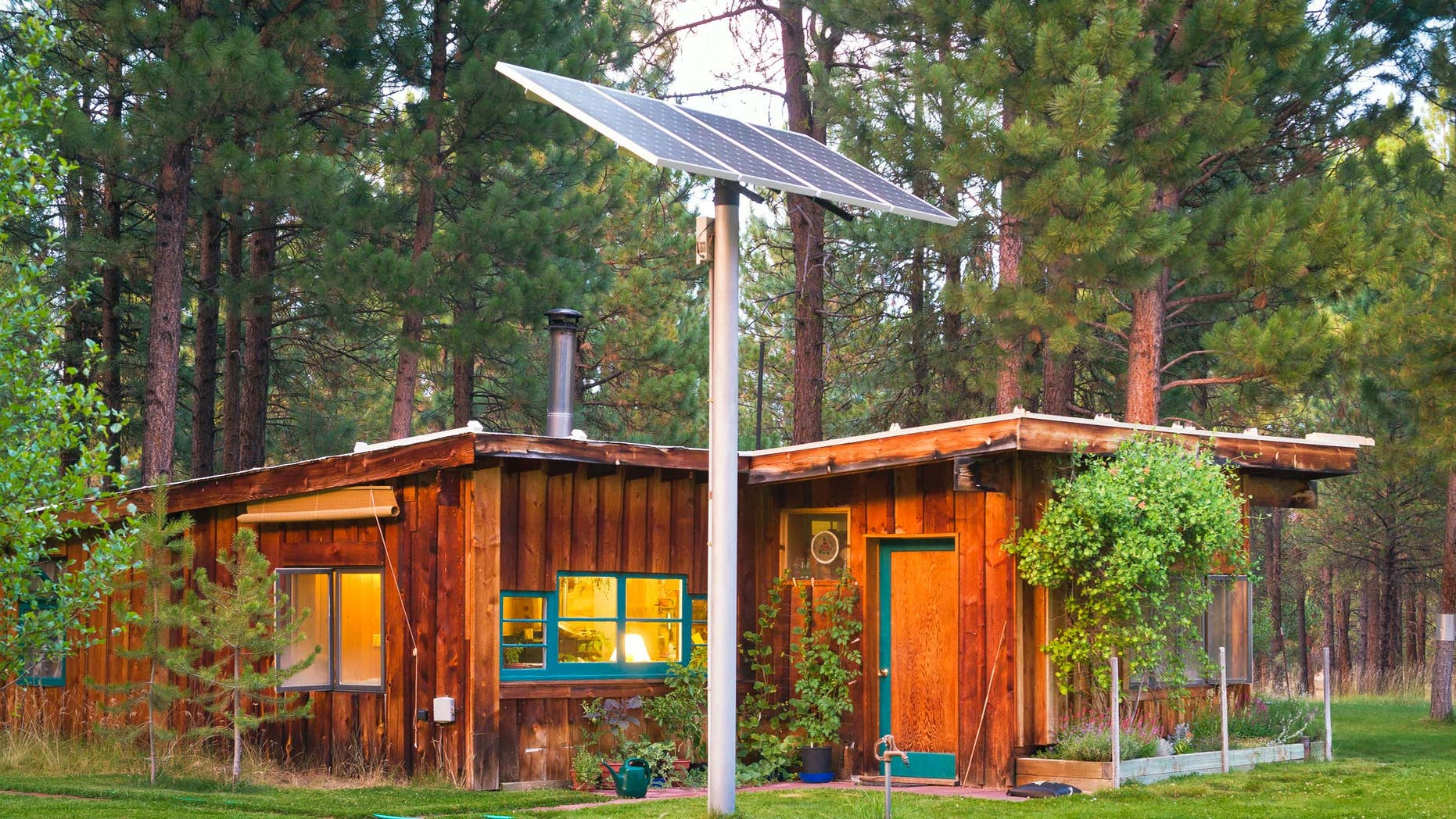 rural house with solar panels