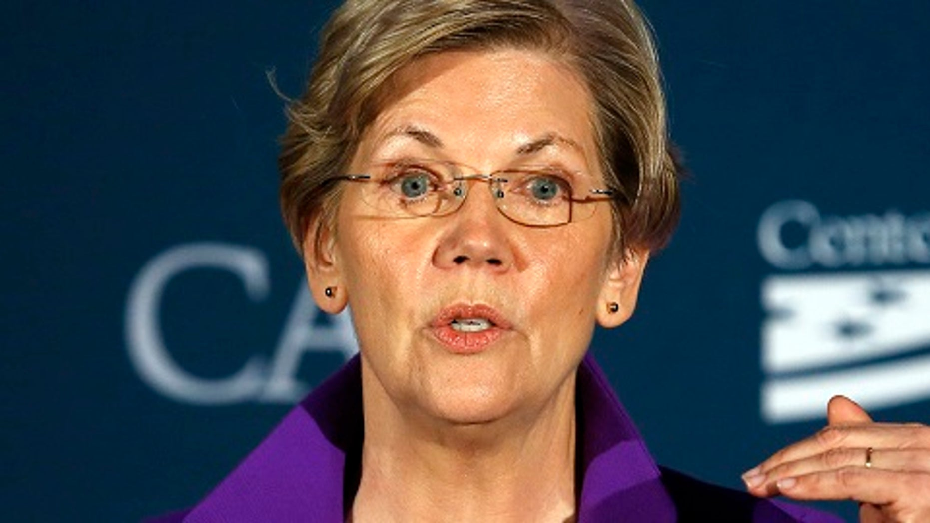 Sen. Elizabeth Warren (D-MA) speaks at the Center for American Progress' 2014 Making Progress Policy Conference in Washington Nov. 19, 2014. (REUTERS/Gary Cameron)