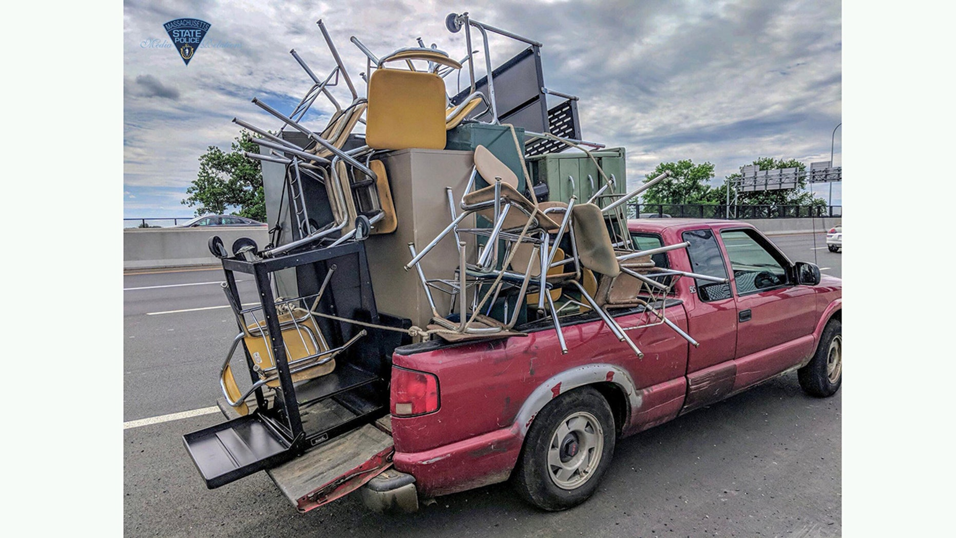 Overloaded Pickup Full Of Furniture Has Police Asking What Could Go