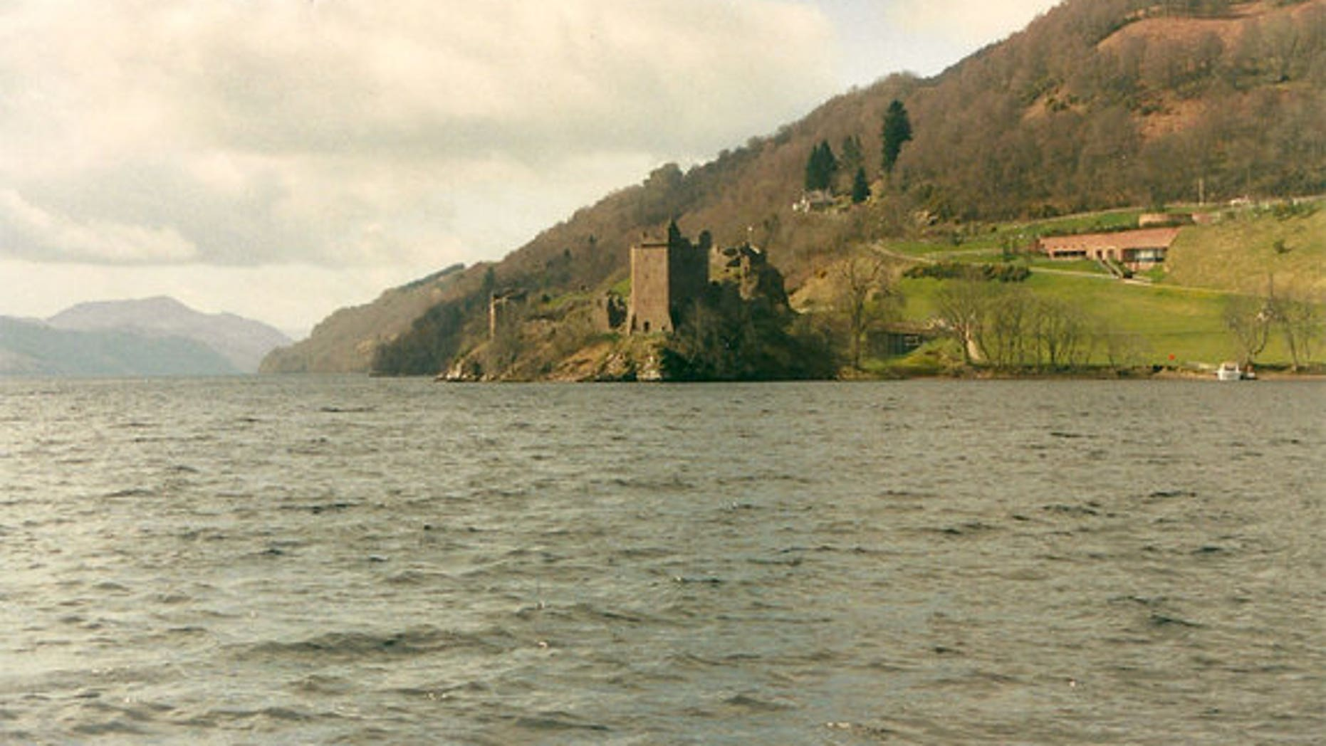 """The photo of the """"monster"""" was taken from the woody shoreline of Loch Ness lake in the Highlands of Scotland, shown here with Urquhart Castle in the background."""