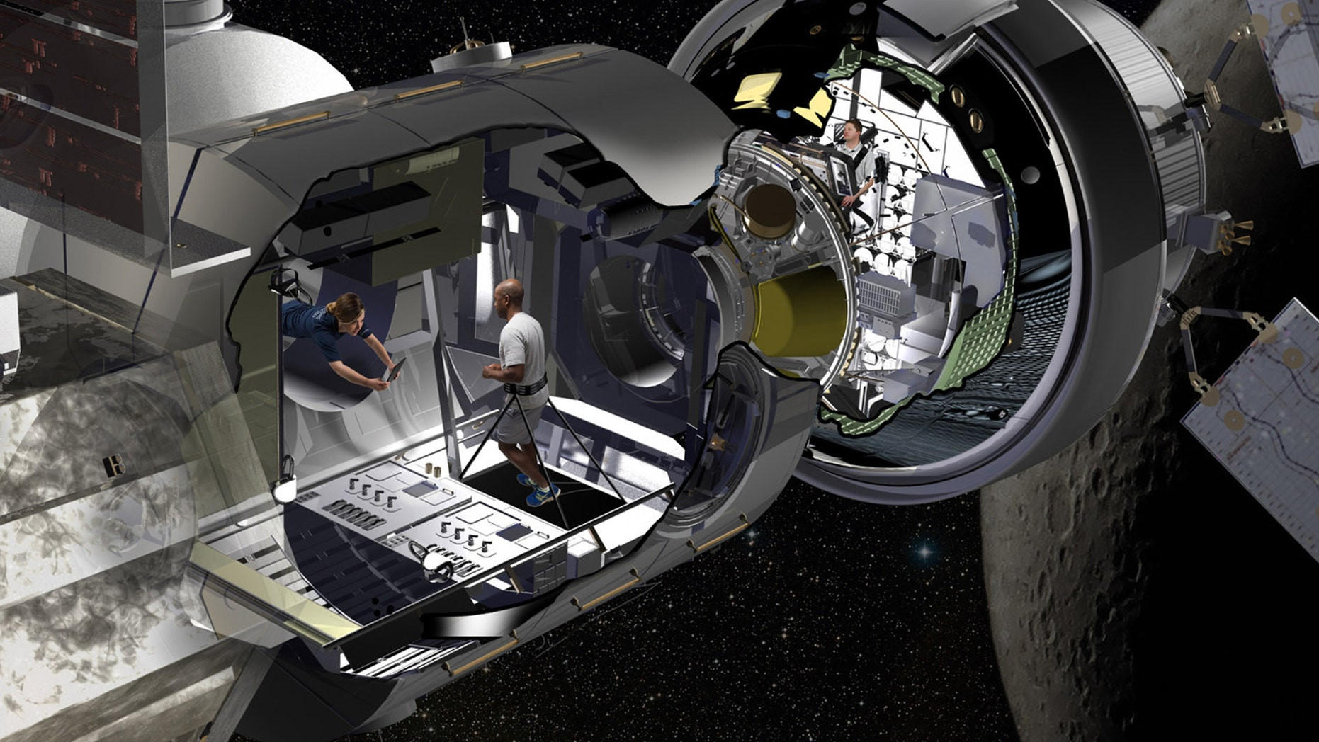 Lockheed Martin artist rendering of the NextSTEP habitat docked with Orion in cislunar orbit as part of a concept for the Deep Space Gateway. Orion will serve as the habitat's command deck in early missions, providing critical communications, life support and navigation to guide long-duration missions. (PRNewsfoto/Lockheed Martin)