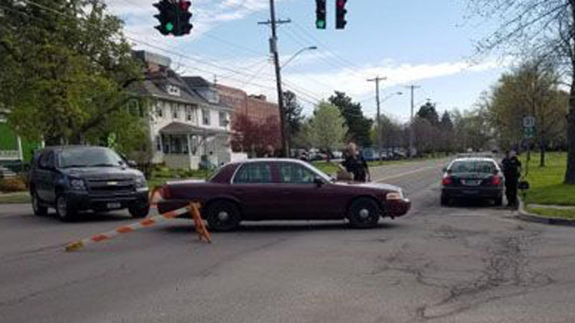 Police block off street after holdup at hospital near Buffalo, N.Y. (Harold McNeil/ Buffalo News)