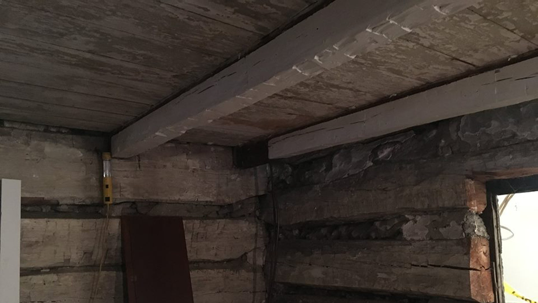 A log cabin in Dublin, Ohio was discovered inside another house during a home renovation project. (Credit: Dr. Kevin Kemp, Facebook)