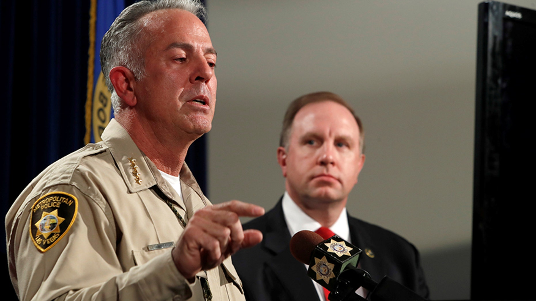 Oct. 3, 2017: Clark County Sheriff Joe Lombardo, left, responds to a question as Aaron Rouse, FBI Special Agent in Charge of the Las Vegas Division, looks on during a media briefing at the Las Vegas Metro Police headquarters in Las Vegas, Nev.
