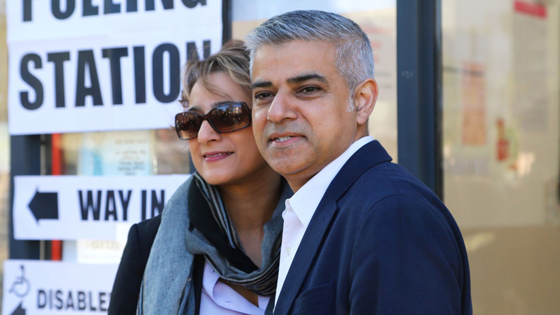 London mayoral candidate Labour Party's Sadiq Khan arrives with his wife Saadiya to cast their votes at a polling station in Streatham, south west London, Thursday May 5, 2016. (Philip Gareth Fulller/PA via AP) UNITED KINGDOM OUT NO SALES NO ARCHIVE