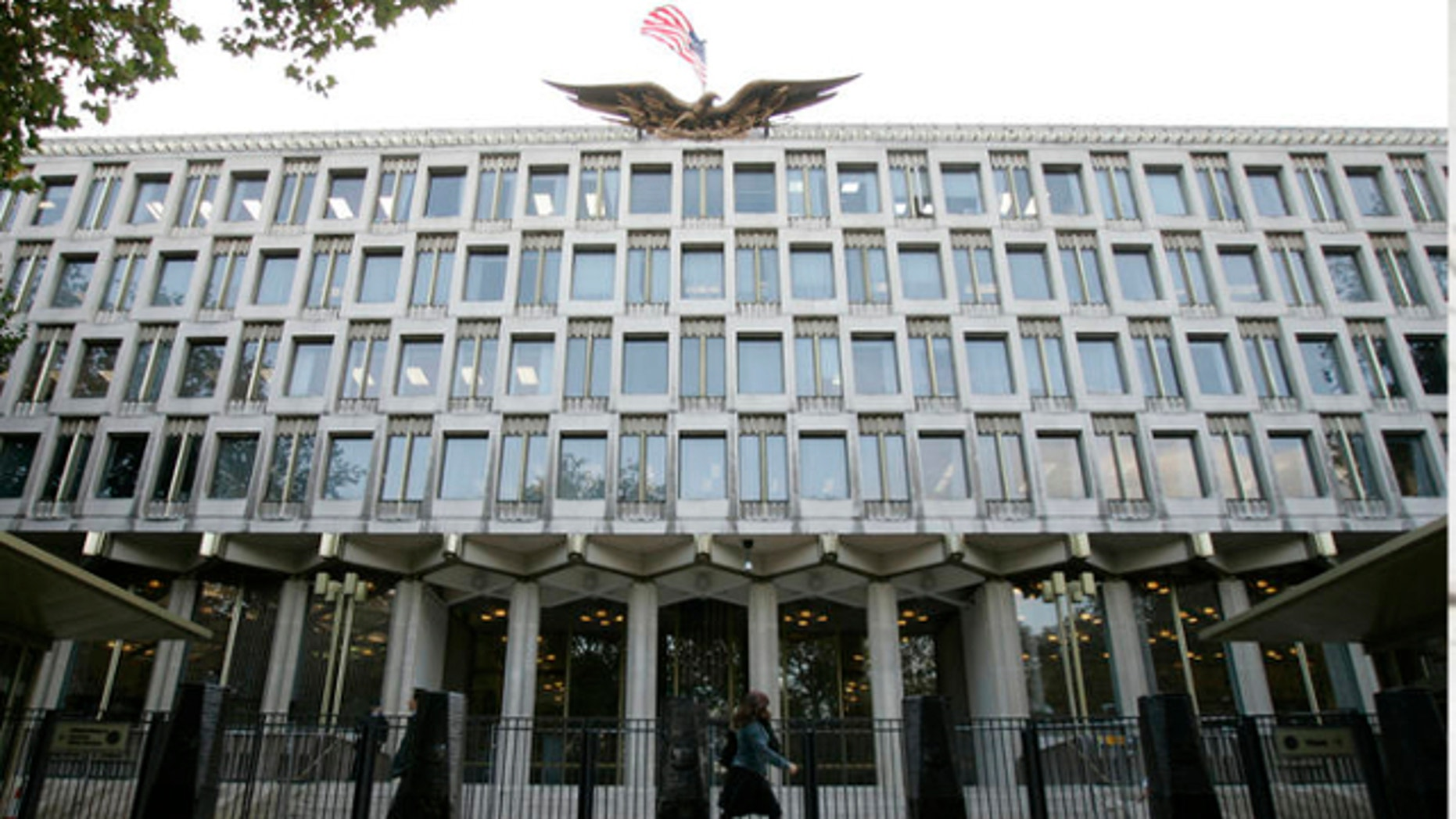FILE: Oct. 2, 2008: The United States Embassy in Grosvenor Square in central London.