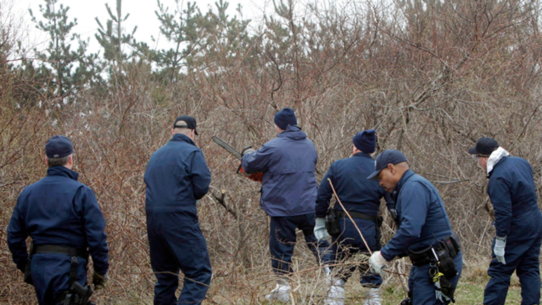 Emergency personnel search through the brush for human remains near Jones Beach in Wantagh, N.Y. in this April 11, 2011 file photo.