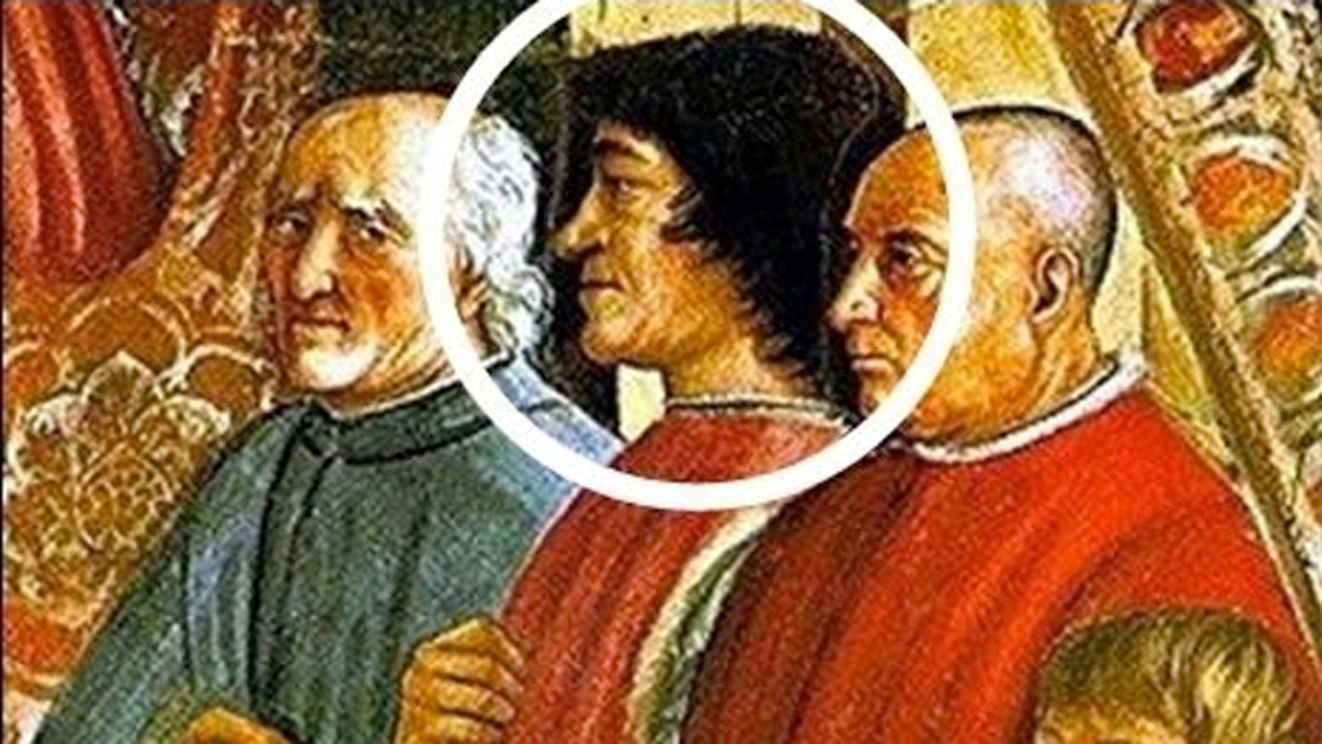 Can facial-recognition software, written to spot live faces, identify people in paintings such as this fresco showing 15th-century Italian statesman Lorenzo de' Medici (circled)?