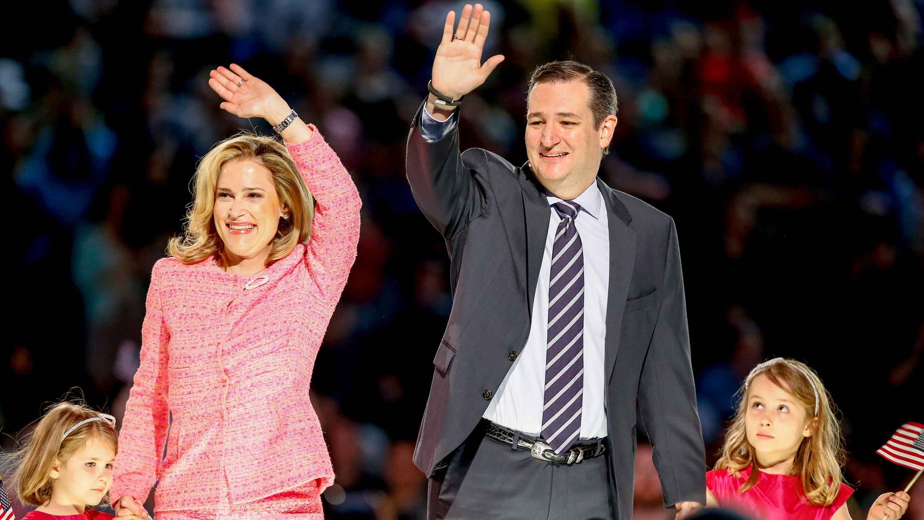 Sen. Ted Cruz, his wife and their two daughters on March 23, 2015, at Liberty University in Lynchburg, Va.