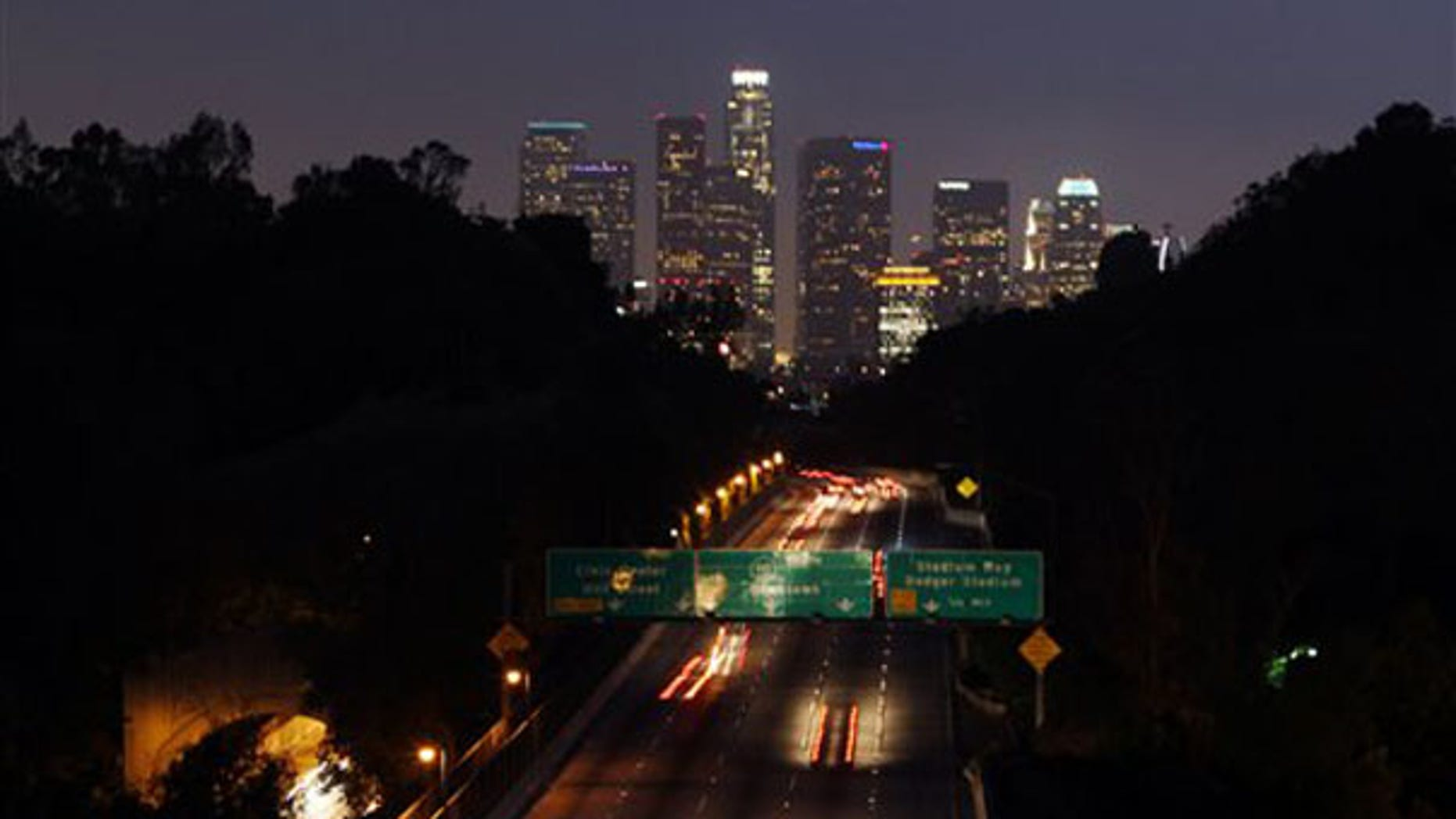 Traffic flows along the Pasadena Freeway May 14 in Los Angeles. (AP Photo)